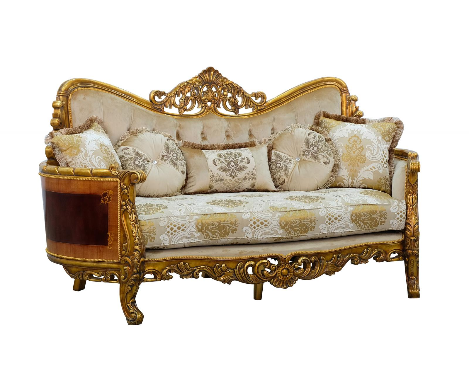 Classic  Traditional Beige  Gold  Antique Wood  Solid Hardwood and Fabric Loveseat EUROPEAN FURNITURE 31055-L