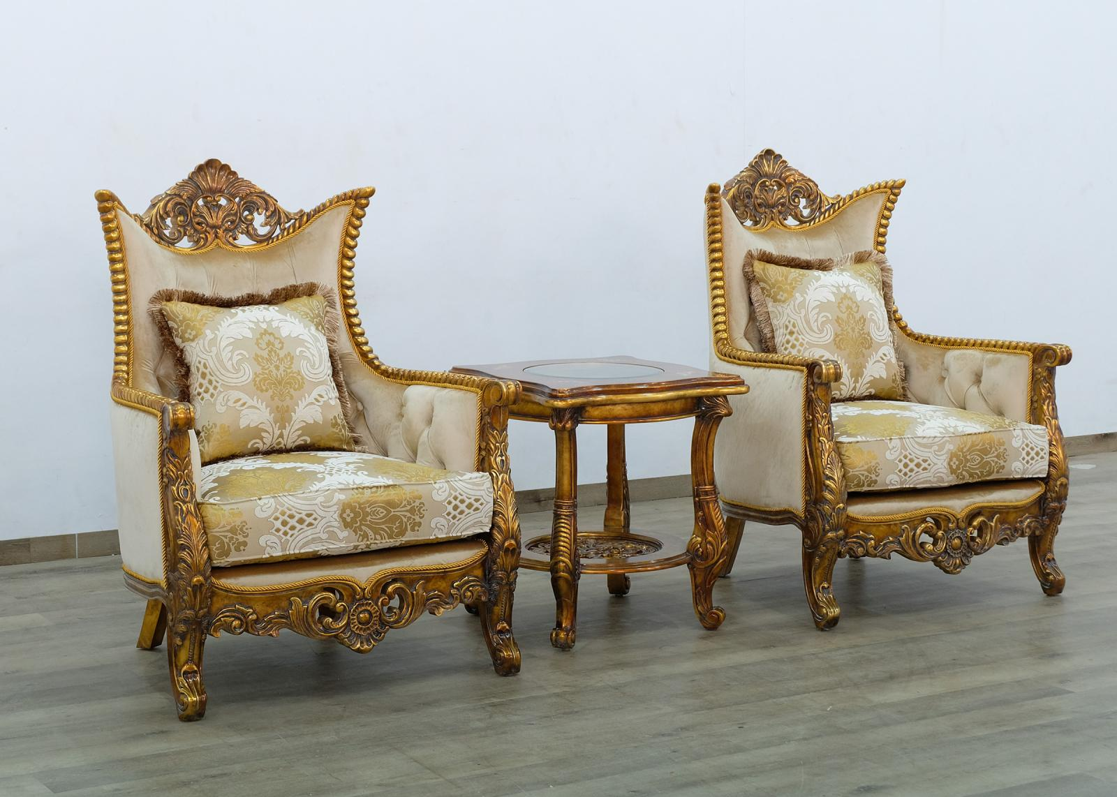 Classic  Traditional Beige  Gold  Antique Wood  Solid Hardwood and Fabric Arm Chair Set EUROPEAN FURNITURE 31055-C-Set-2