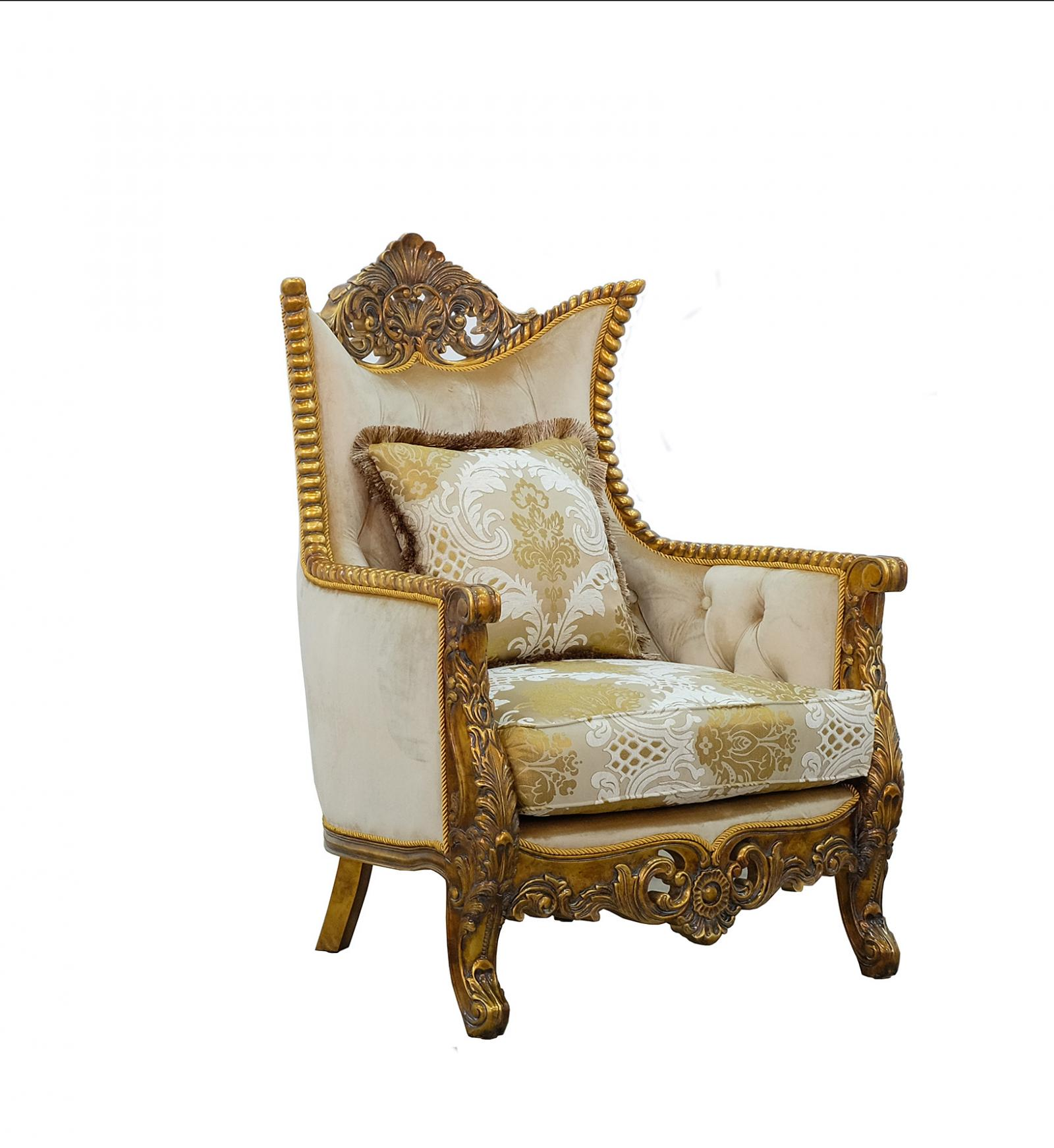 Classic  Traditional Beige  Gold  Antique Wood  Solid Hardwood and Fabric Arm Chair EUROPEAN FURNITURE 31055-C