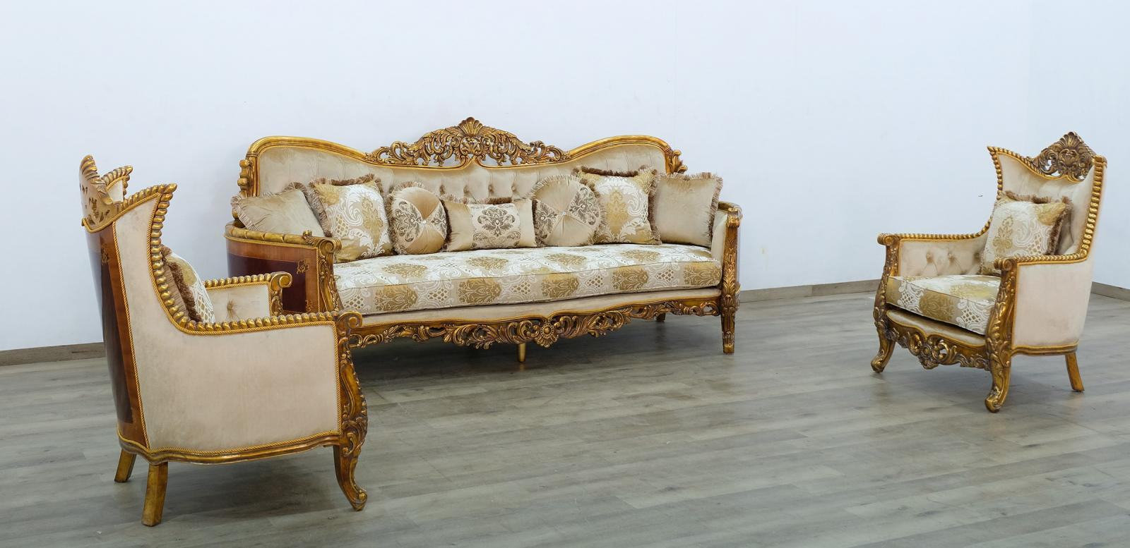 Classic  Traditional Beige  Gold  Antique Wood  Solid Hardwood and Fabric Sofa Set EUROPEAN FURNITURE 31055-S-Set-3