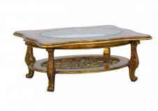 Classic  Traditional Beige  Bronze  Gold  Antique Wood  Solid Hardwood and  Coffee Table EUROPEAN FURNITURE 31055-CT