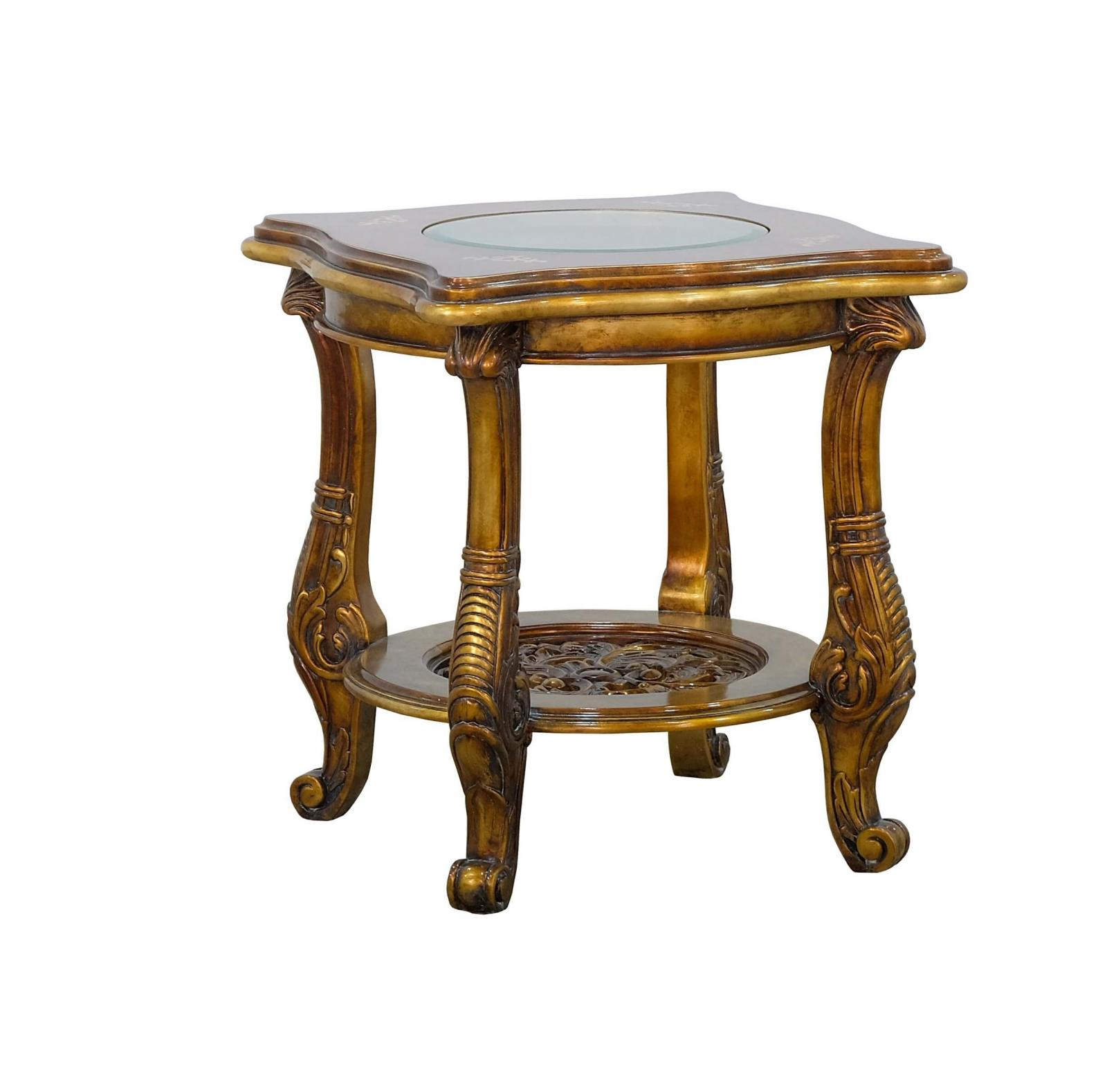 Classic  Traditional Beige  Bronze  Gold  Antique Wood  Solid Hardwood and  End Table EUROPEAN FURNITURE 31055-ET