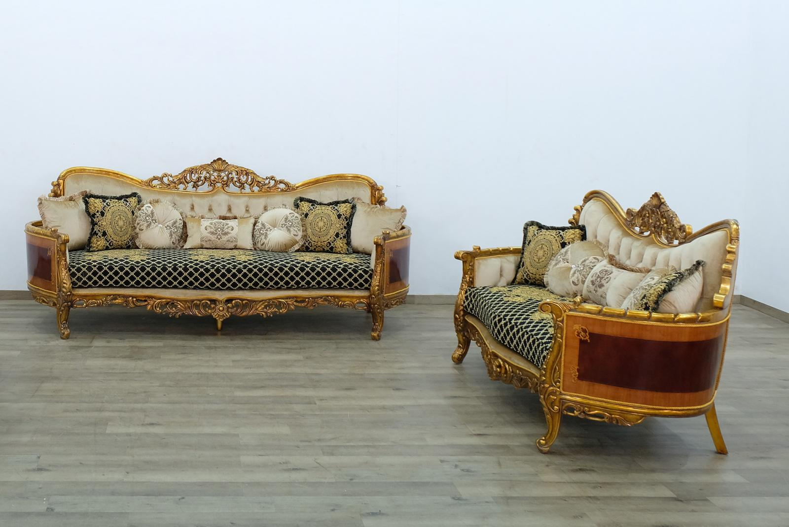 Classic  Traditional Beige  Gold  Antique   Black Wood  Solid Hardwood and Fabric Sofa Set EUROPEAN FURNITURE 31059-S-Set-2