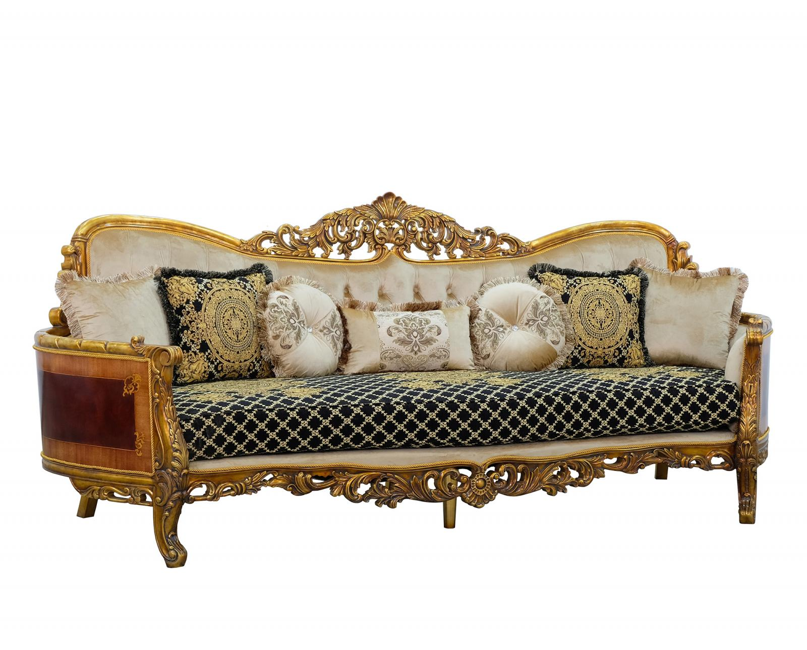 Classic  Traditional Beige  Gold  Antique   Black Wood  Solid Hardwood and Fabric Sofa EUROPEAN FURNITURE 31059-S