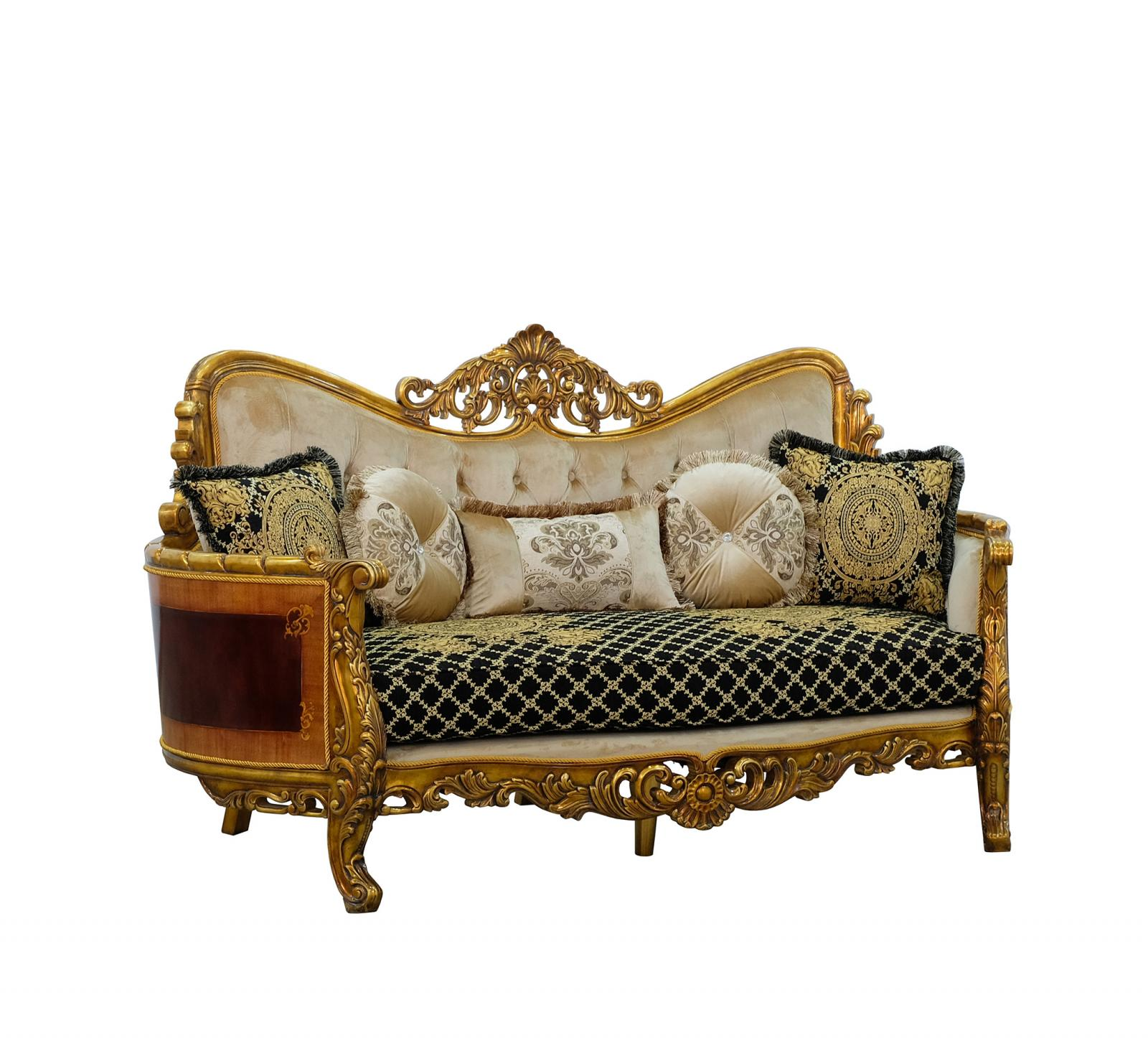 Classic  Traditional Beige  Gold  Antique   Black Wood  Solid Hardwood and Fabric Loveseat EUROPEAN FURNITURE 31059-L