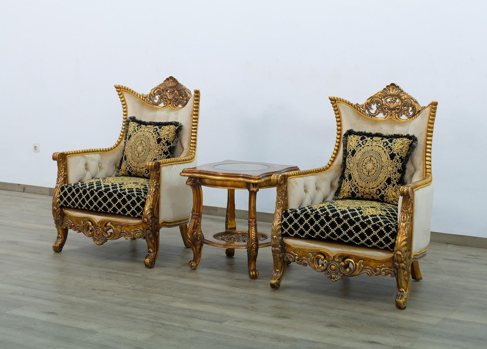 Classic  Traditional Beige  Gold  Antique   Black Wood  Solid Hardwood and Fabric Arm Chair Set EUROPEAN FURNITURE 31059-C-Set-2