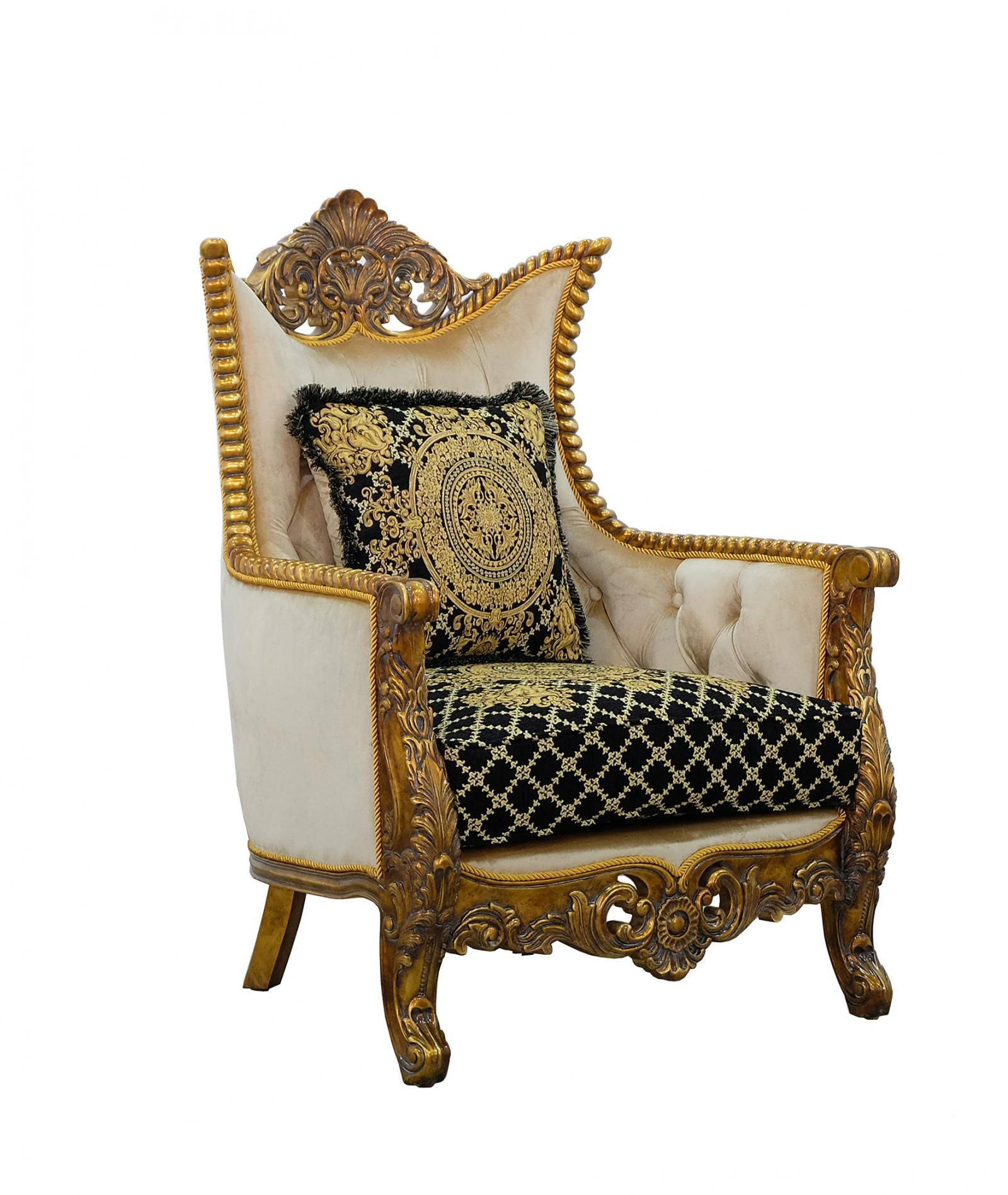Classic  Traditional Beige  Gold  Antique   Black Wood  Solid Hardwood and Fabric Arm Chair EUROPEAN FURNITURE 31059-C