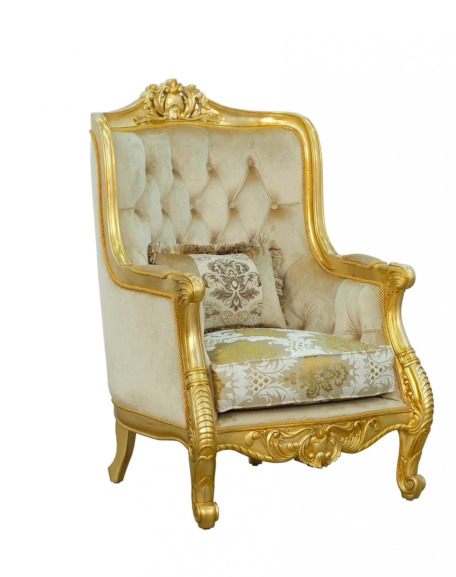 Classic  Traditional Beige  Gold  Antique  Ebony  Mahogany  Wood  Solid Hardwood and Fabric Arm Chair EUROPEAN FURNITURE 668584-C