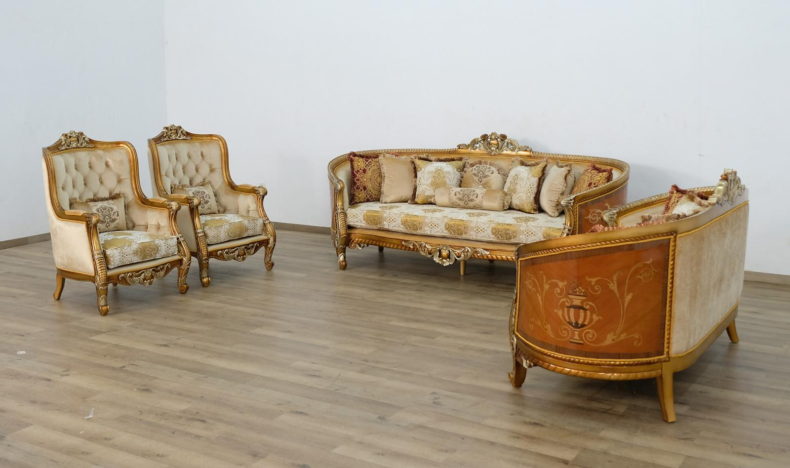 Classic  Traditional Brown  Gold  Antique Wood  Solid Hardwood and Fabric Sofa Set EUROPEAN FURNITURE 68587-S-Set-4