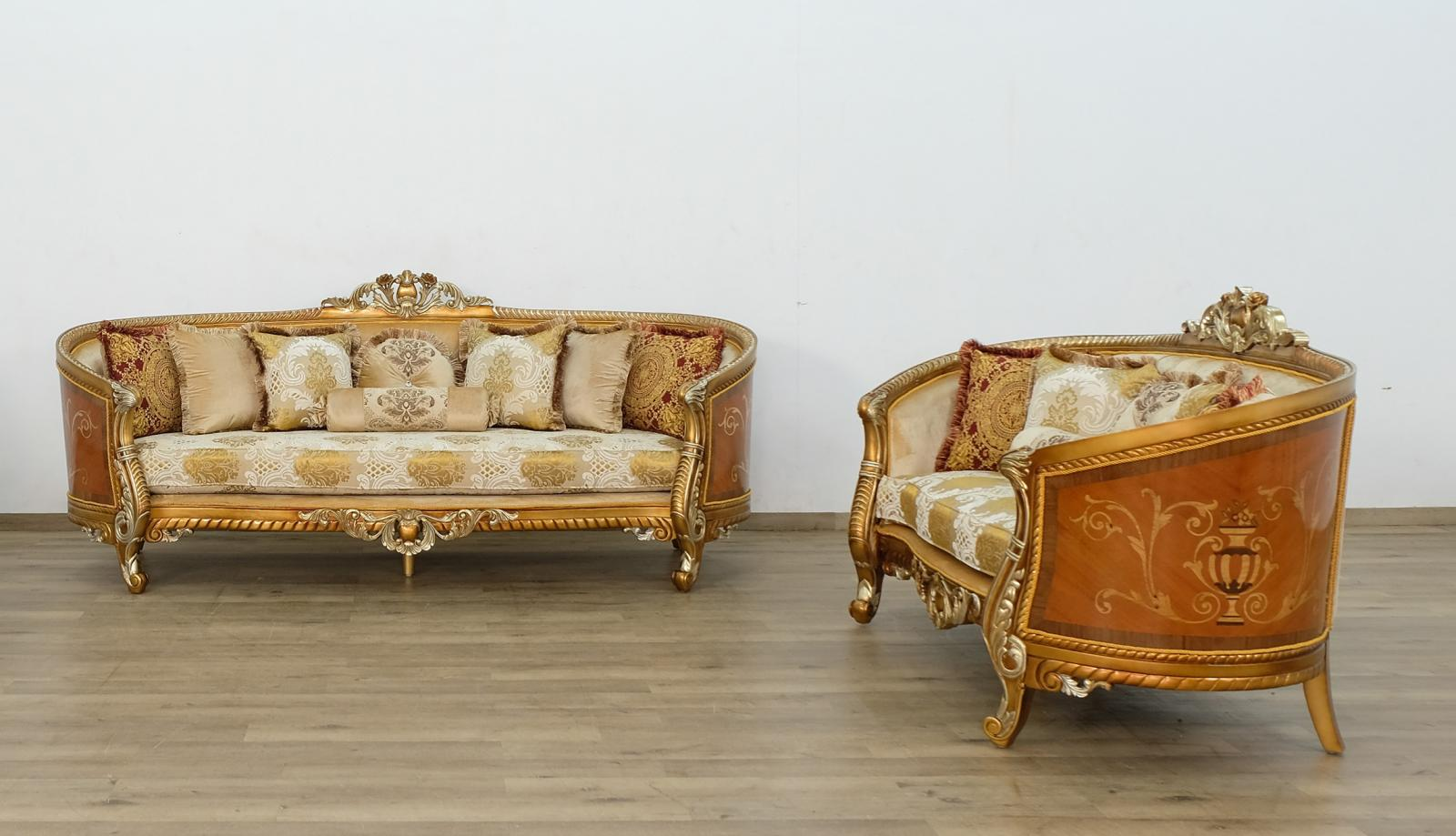 Classic  Traditional Brown  Gold  Antique Wood  Solid Hardwood and Fabric Sofa Set EUROPEAN FURNITURE 68587-S-Set-2