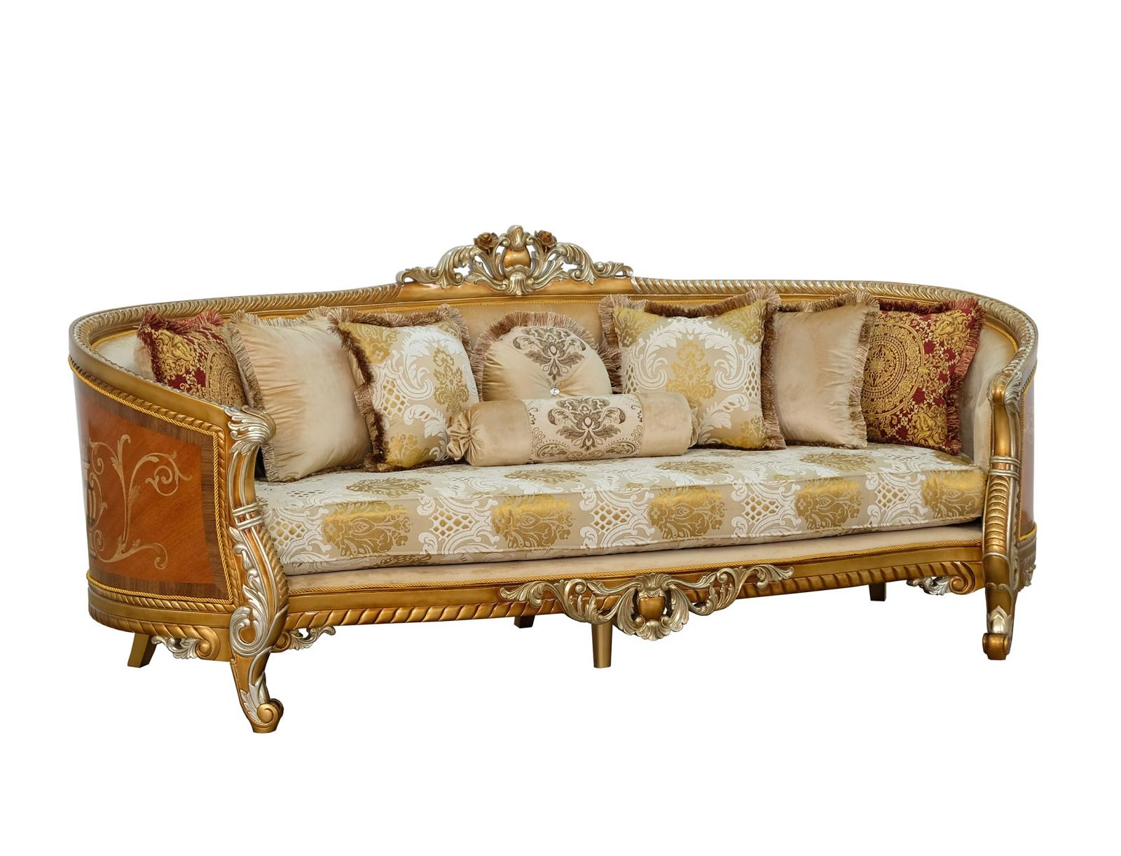 Classic  Traditional Brown  Gold  Antique Wood  Solid Hardwood and Fabric Sofa EUROPEAN FURNITURE 68587-S
