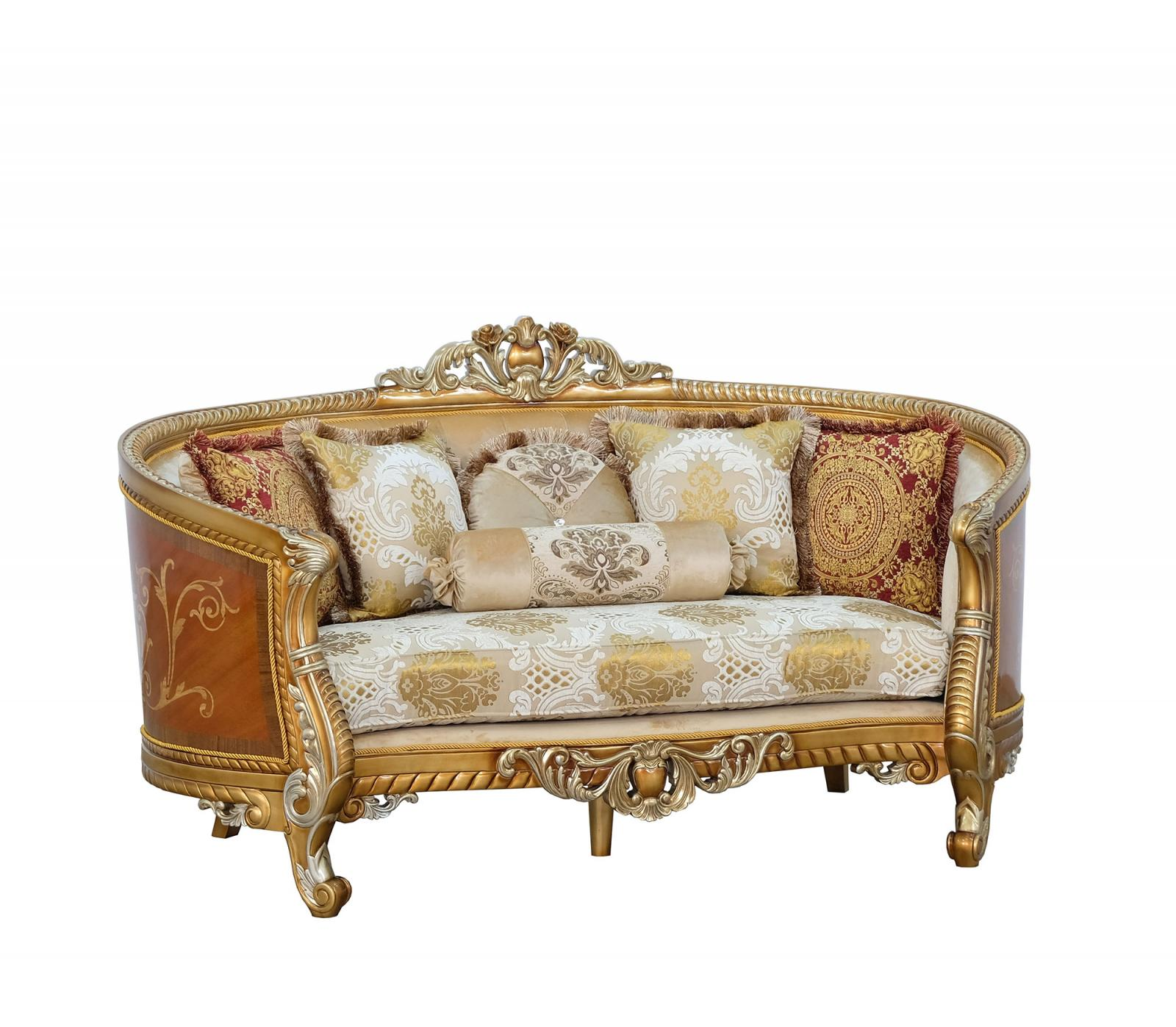 Classic  Traditional Brown  Gold  Antique Wood  Solid Hardwood and Fabric Loveseat EUROPEAN FURNITURE 68587-L