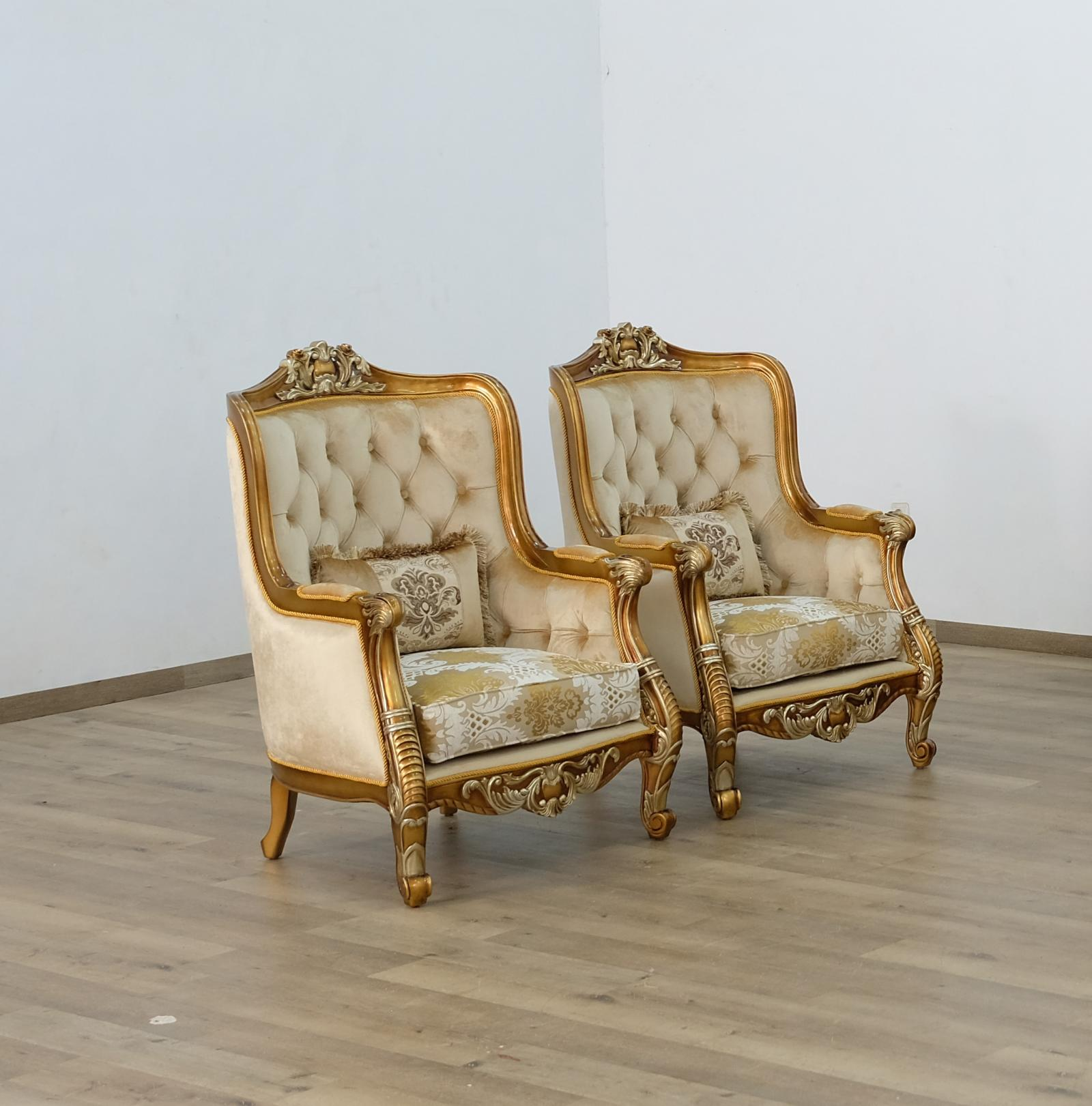 Classic  Traditional Brown  Gold  Antique Wood  Solid Hardwood and Fabric Arm Chair Set EUROPEAN FURNITURE 68587-C-Set-2