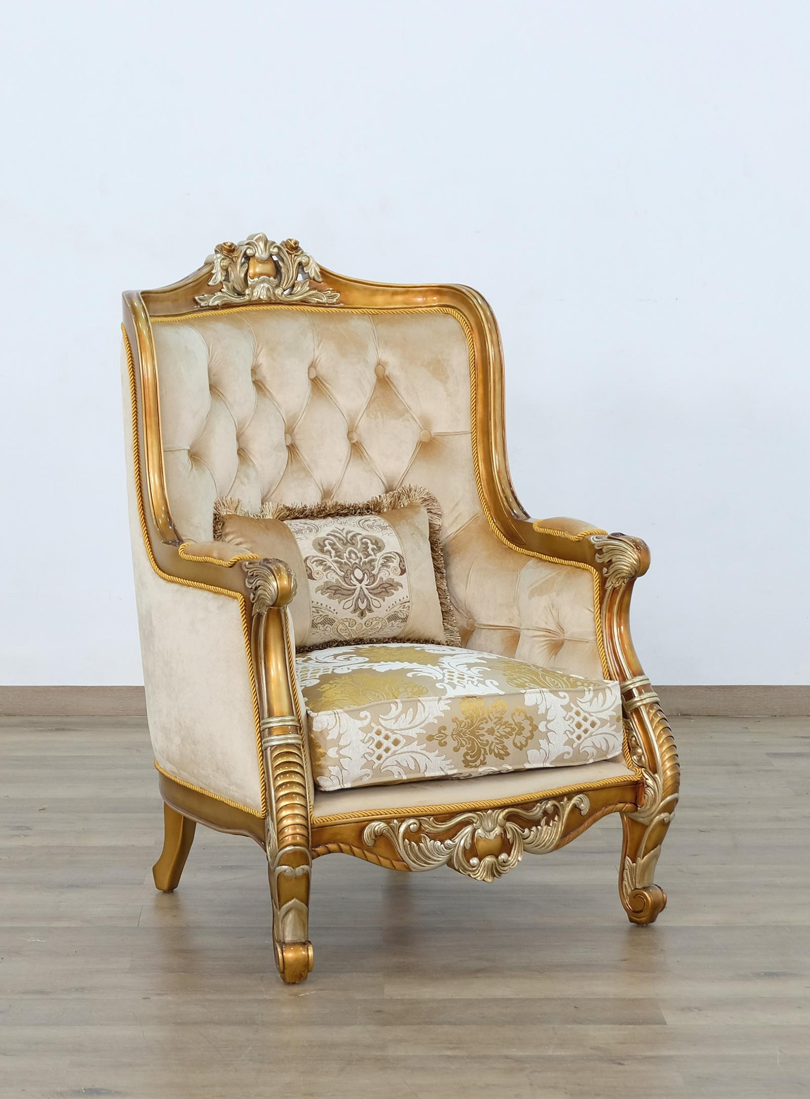 Classic  Traditional Brown  Gold  Antique Wood  Solid Hardwood and Fabric Arm Chair EUROPEAN FURNITURE 68587-C