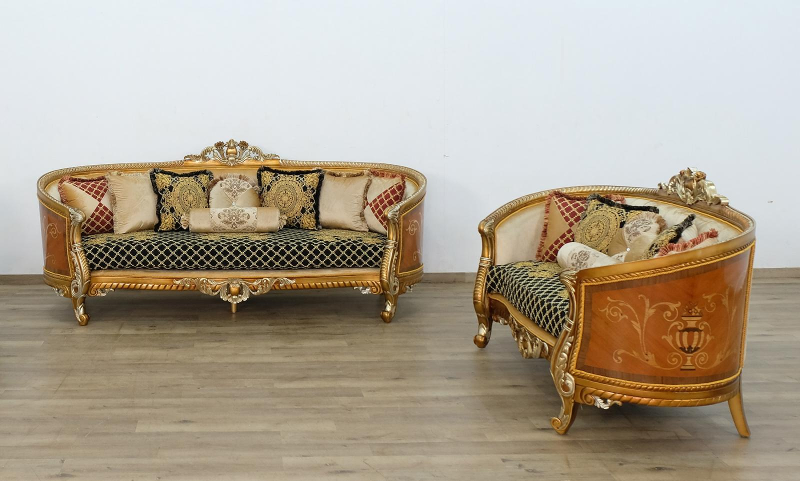 Classic  Traditional Gold  Silver  Antique   Black Wood  Solid Hardwood and Fabric Sofa Set EUROPEAN FURNITURE 68586-S-Set-2
