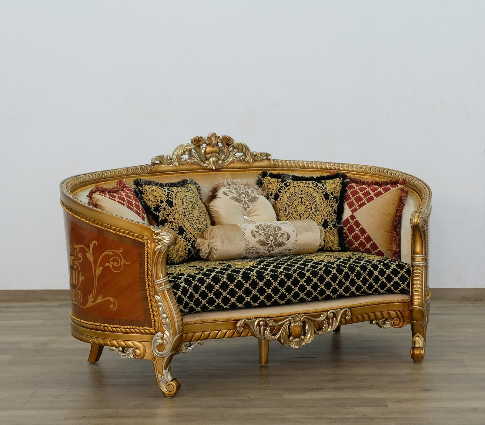 Classic  Traditional Gold  Silver  Antique   Black Wood  Solid Hardwood and Fabric Loveseat EUROPEAN FURNITURE 68586-L