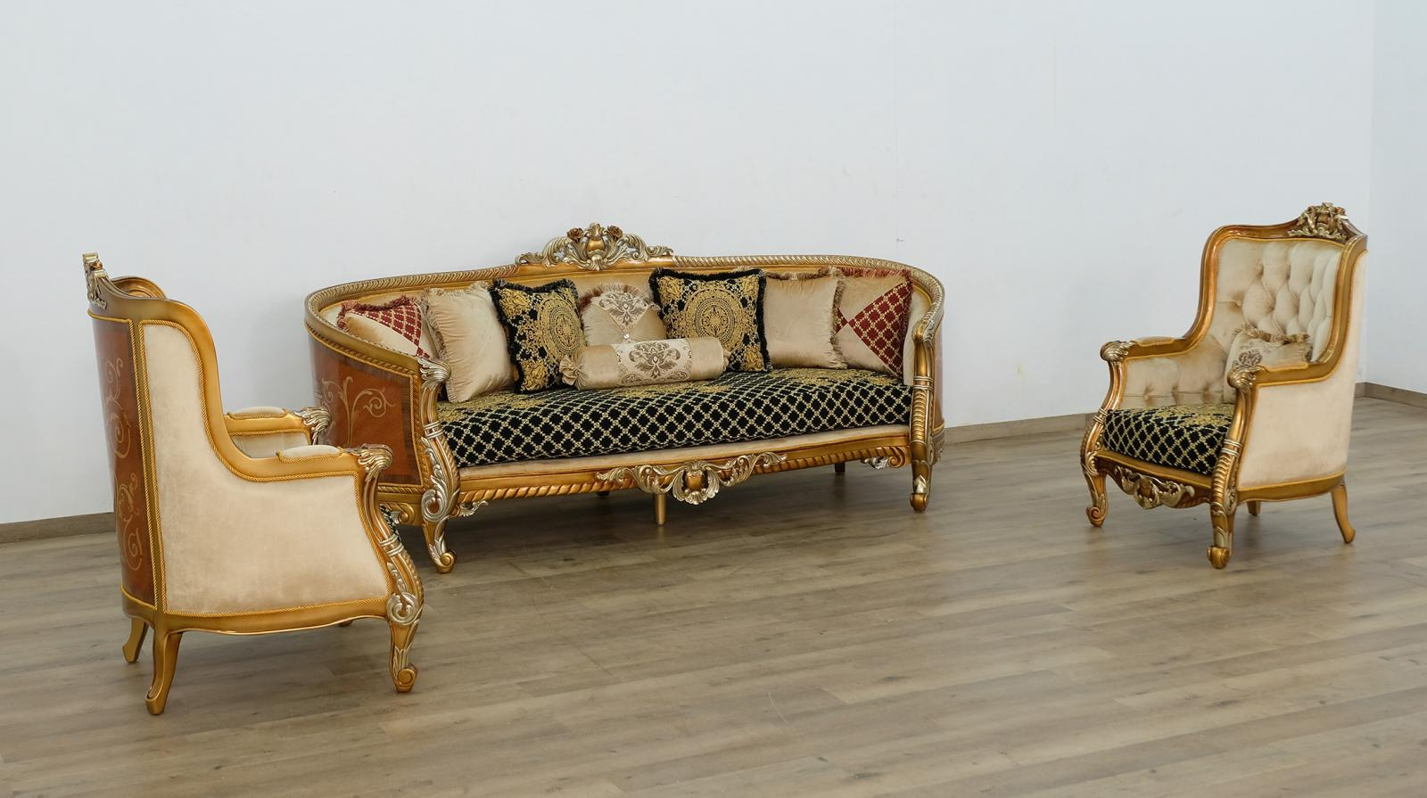 Classic  Traditional Gold  Silver  Antique   Black Wood  Solid Hardwood and Fabric Sofa Set EUROPEAN FURNITURE 68586-S-Set-3