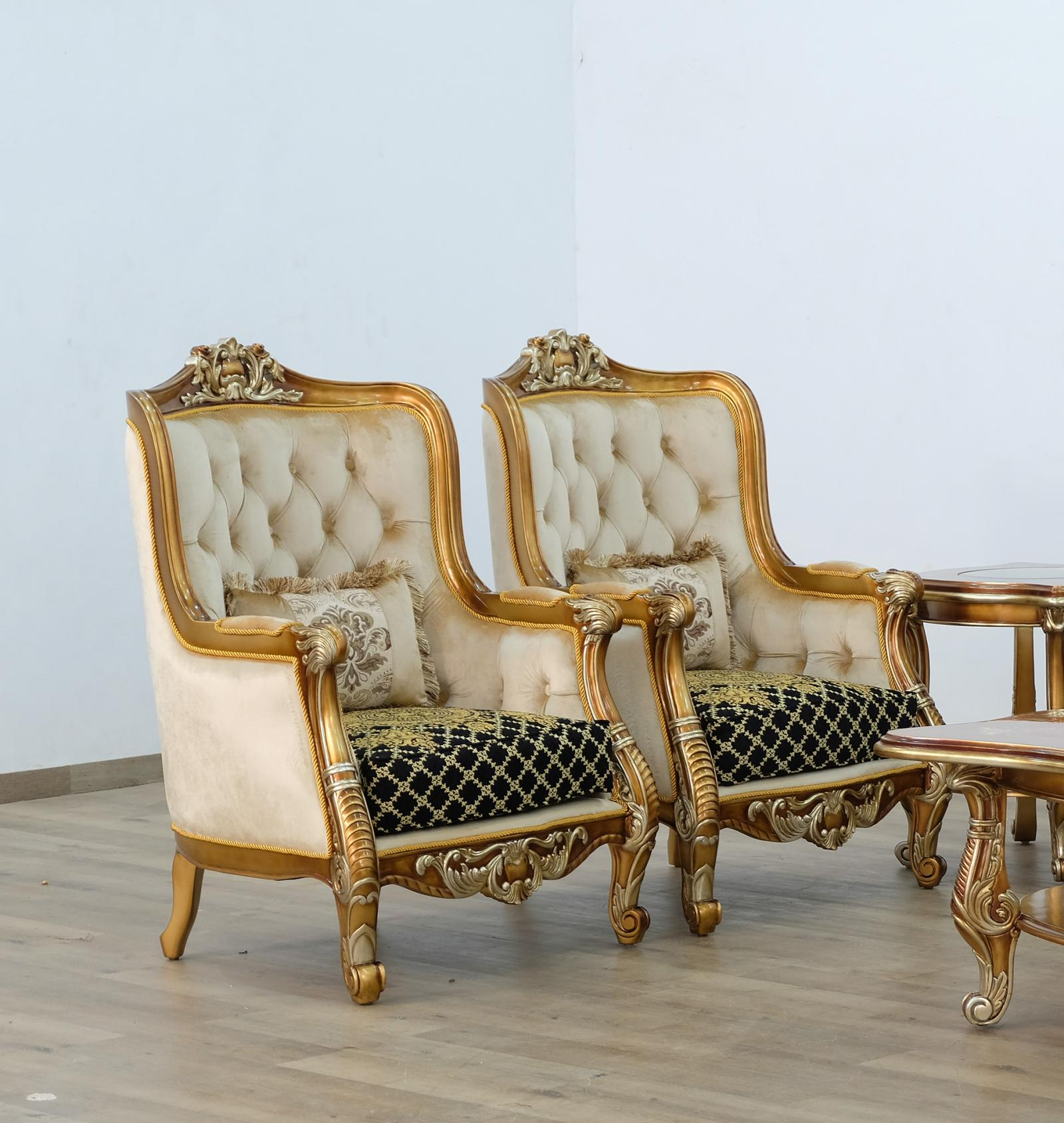 Classic  Traditional Gold  Silver  Antique   Black Wood  Solid Hardwood and Fabric Arm Chair EUROPEAN FURNITURE 68586-C-Set-2