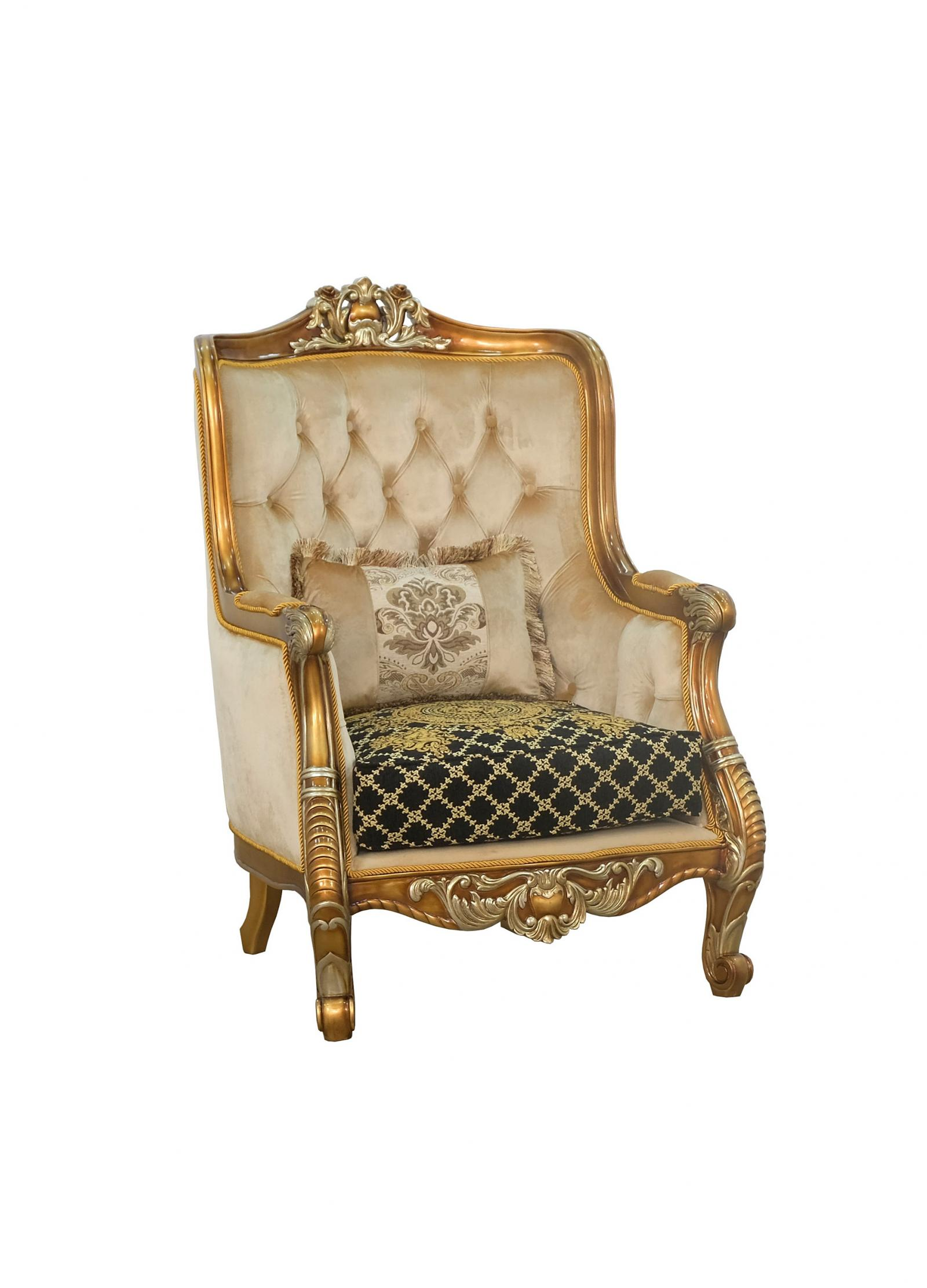 Classic  Traditional Gold  Silver  Antique   Black Wood  Solid Hardwood and Fabric Arm Chair EUROPEAN FURNITURE 68586-C