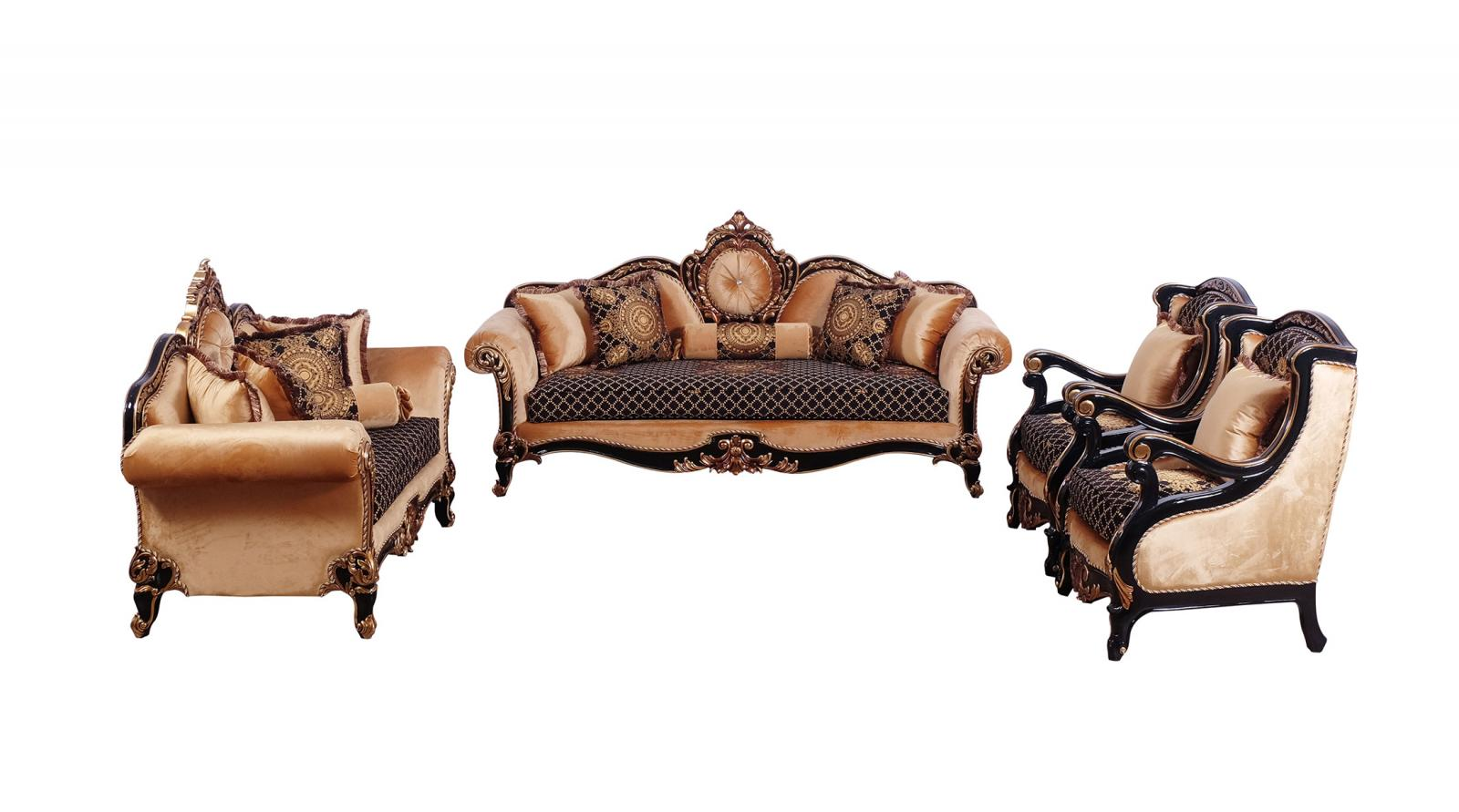 Classic  Traditional Gold  Silver  Antique   Black Wood  Solid Hardwood and Fabric Sofa Set EUROPEAN FURNITURE 41024-S-Set-4