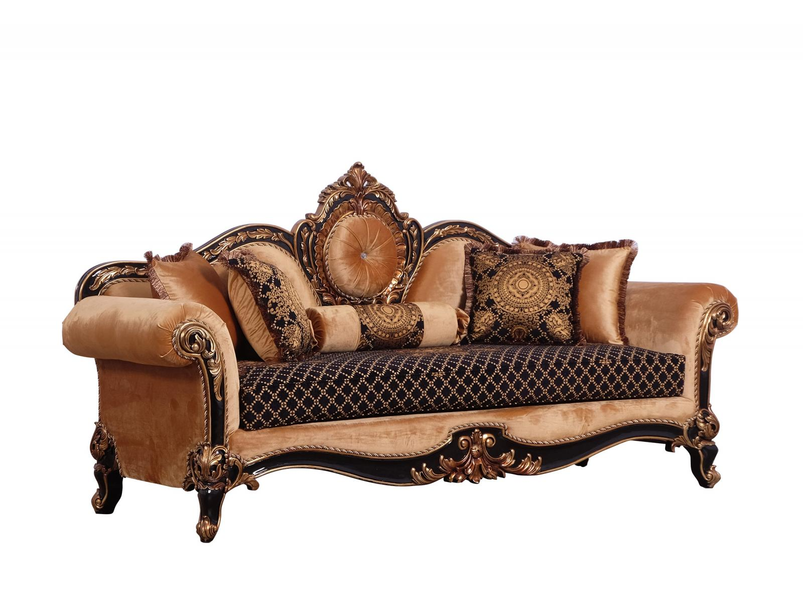 Classic  Traditional Gold  Silver  Antique   Black Wood  Solid Hardwood and Fabric Sofa EUROPEAN FURNITURE 41024-S