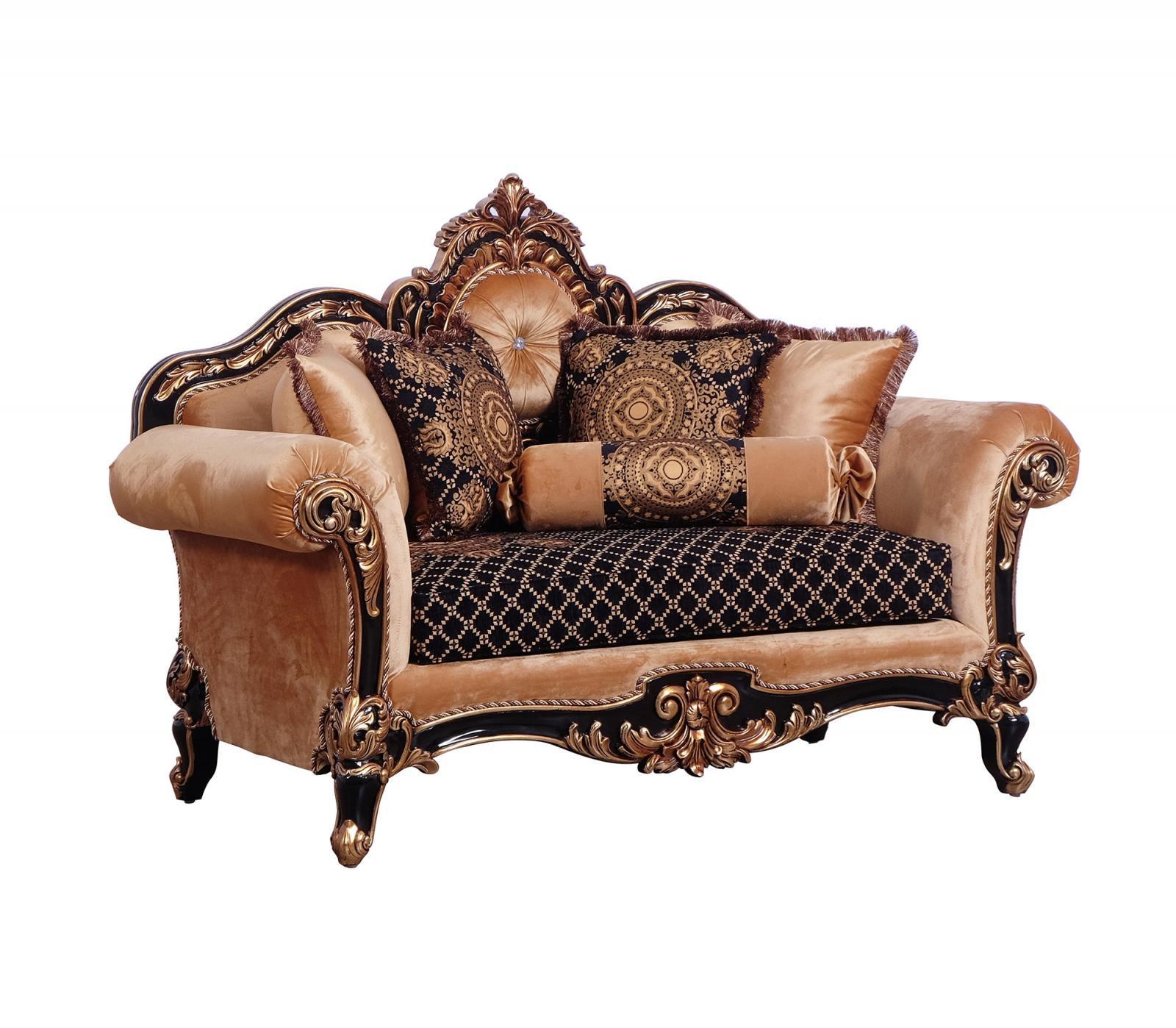 Classic  Traditional Gold  Silver  Antique   Black Wood  Solid Hardwood and Fabric Loveseat EUROPEAN FURNITURE 41024-L