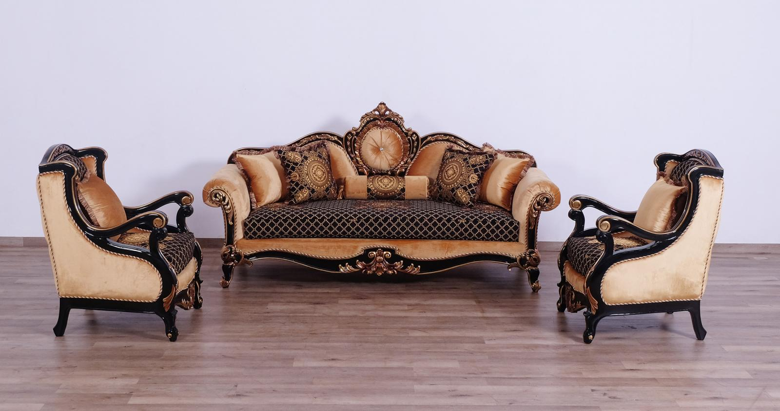 Classic  Traditional Gold  Silver  Antique   Black Wood  Solid Hardwood and Fabric Sofa Set EUROPEAN FURNITURE 41024-S-Set-3