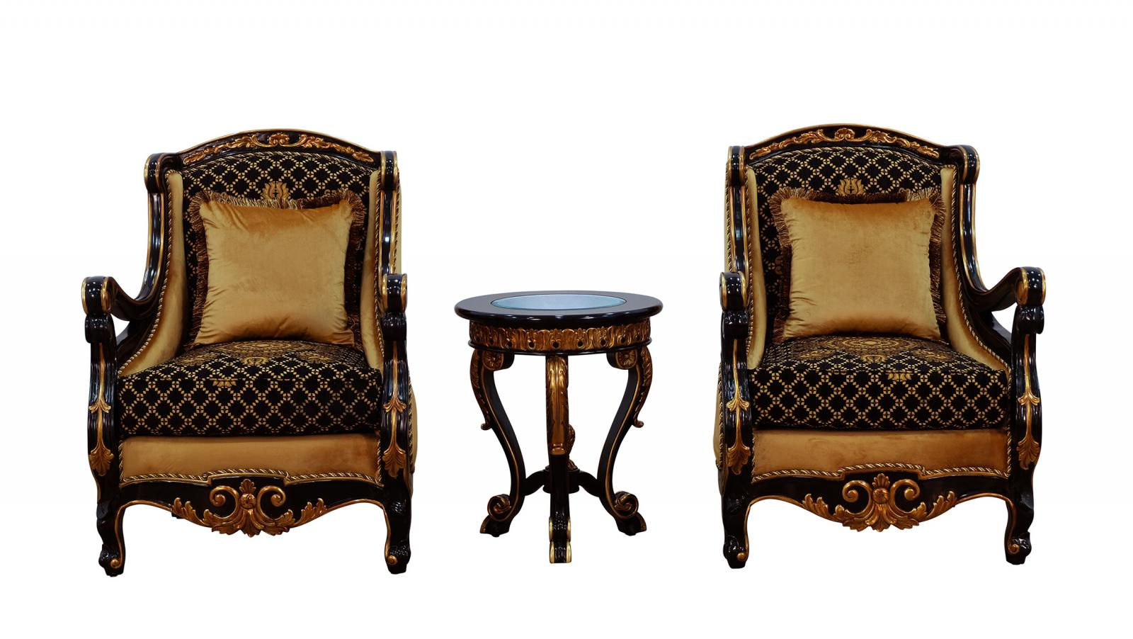 Classic  Traditional Gold  Silver  Antique   Black Wood  Solid Hardwood and Fabric Arm Chair Set EUROPEAN FURNITURE 41024-C-Set-2