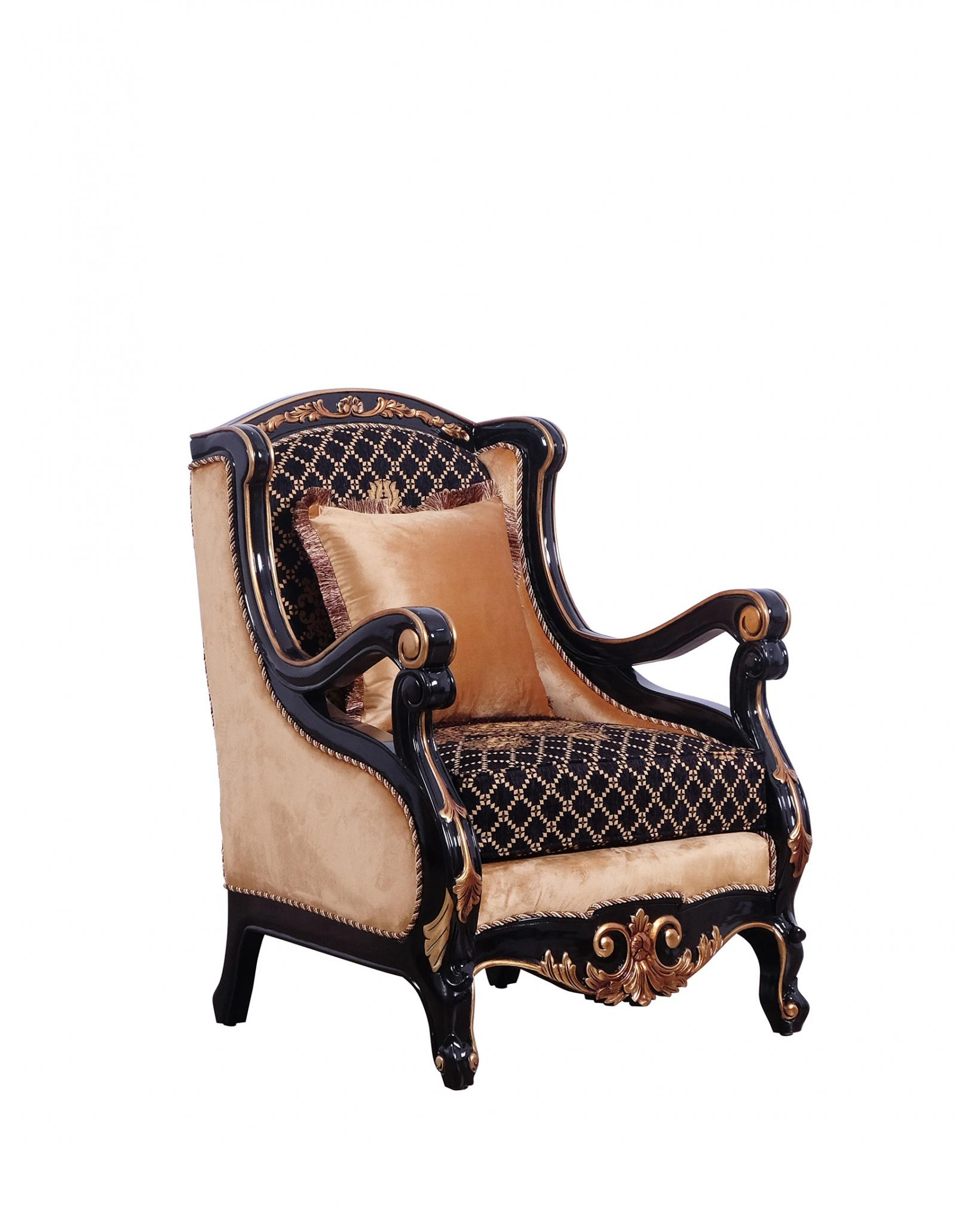 Classic  Traditional Gold  Silver  Antique   Black Wood  Solid Hardwood and Fabric Arm Chair EUROPEAN FURNITURE 41024-C
