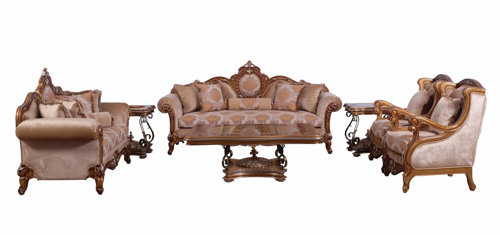Classic  Traditional Brown  Gold  Silver Wood  Solid Hardwood and Fabric Sofa Set EUROPEAN FURNITURE 41026-S-Set-4