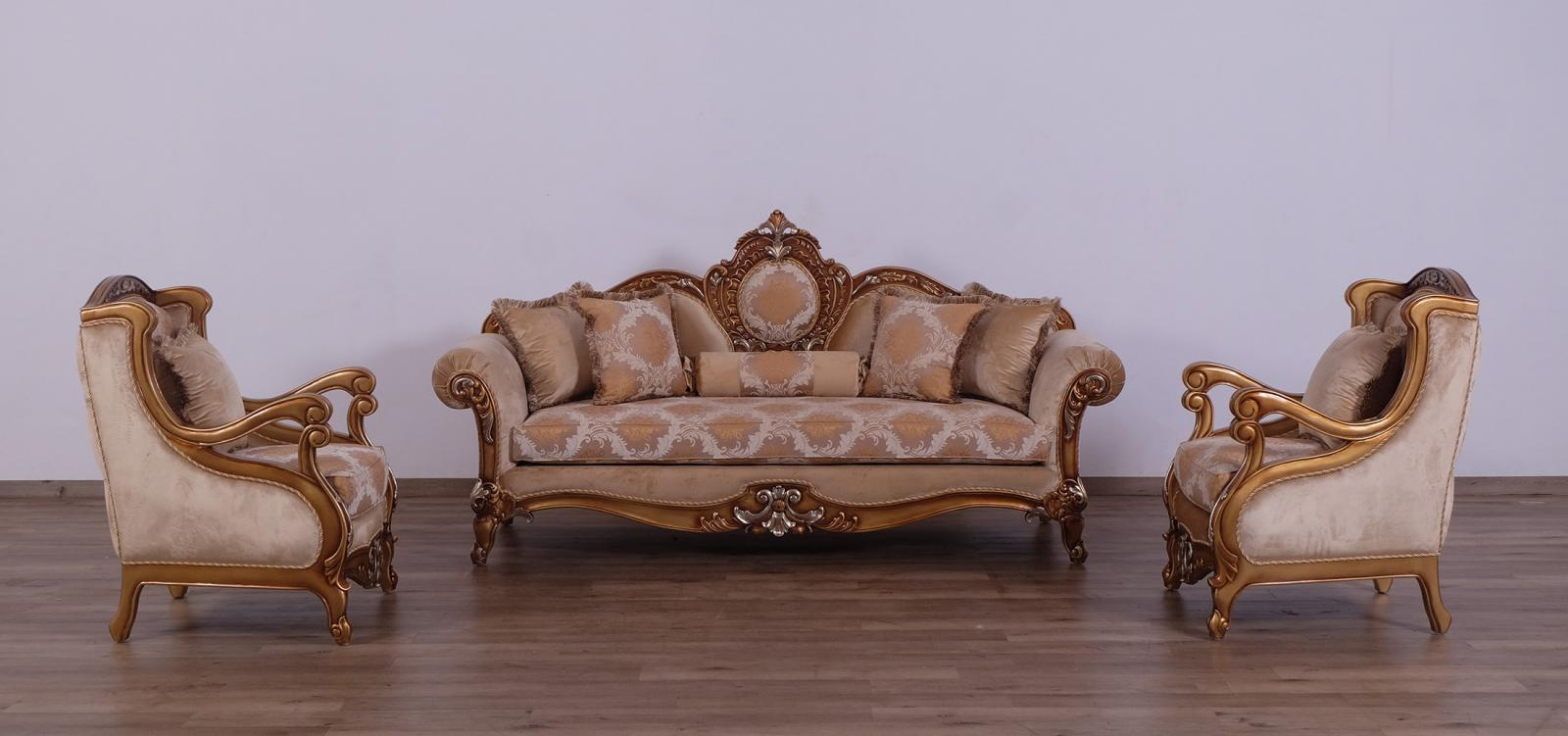 Classic  Traditional Brown  Gold  Silver Wood  Solid Hardwood and Fabric Sofa Set EUROPEAN FURNITURE 41026-S-Set-3