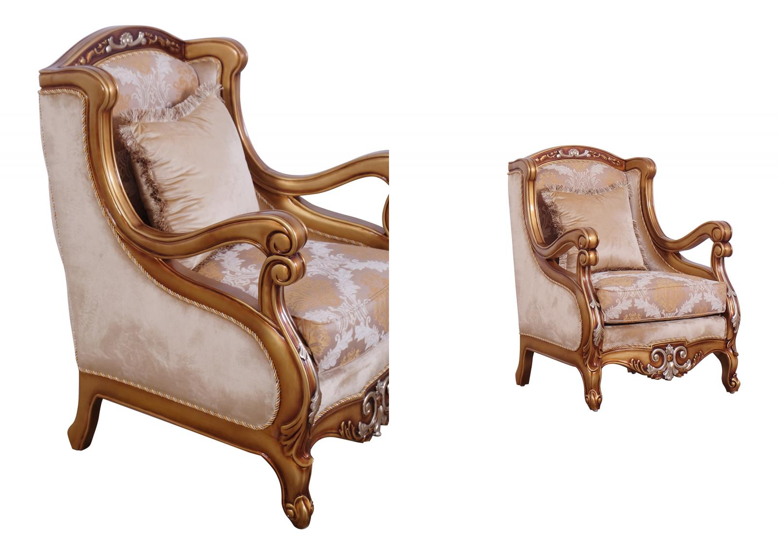 Classic  Traditional Brown  Gold  Silver Wood  Solid Hardwood and Fabric Arm Chair Set EUROPEAN FURNITURE 41026-C-Set-2