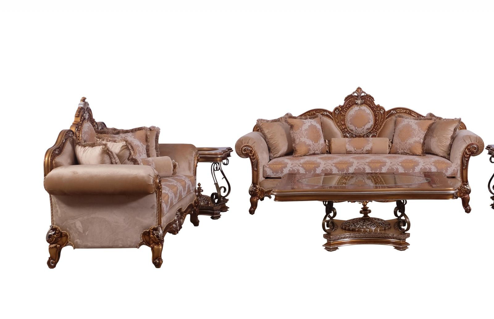 Classic  Traditional Brown  Gold  Silver Wood  Solid Hardwood and Fabric Sofa Set EUROPEAN FURNITURE 41026-S-Set-2