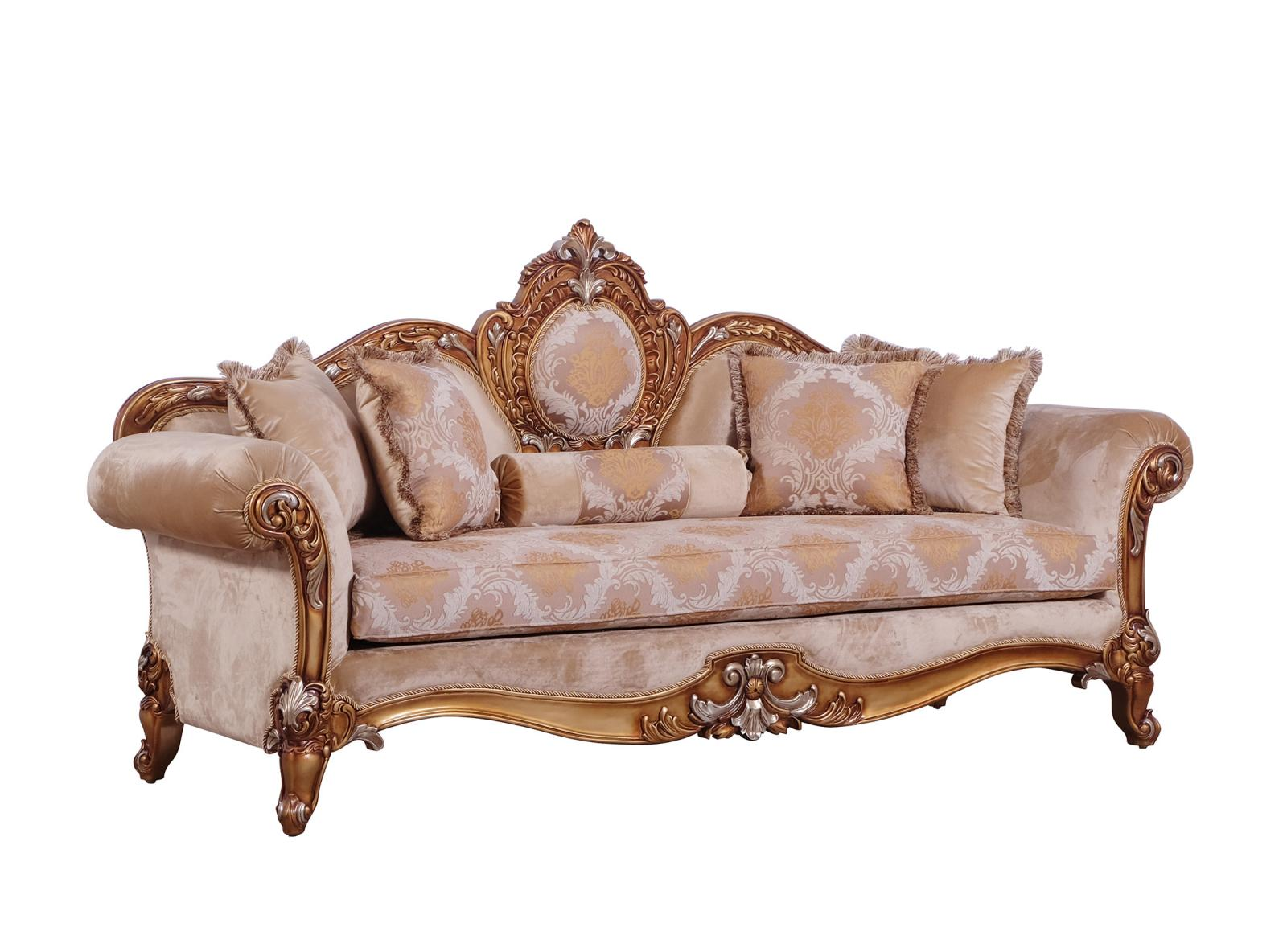 Classic  Traditional Brown  Gold  Silver Wood  Solid Hardwood and Fabric Sofa EUROPEAN FURNITURE 41026-S