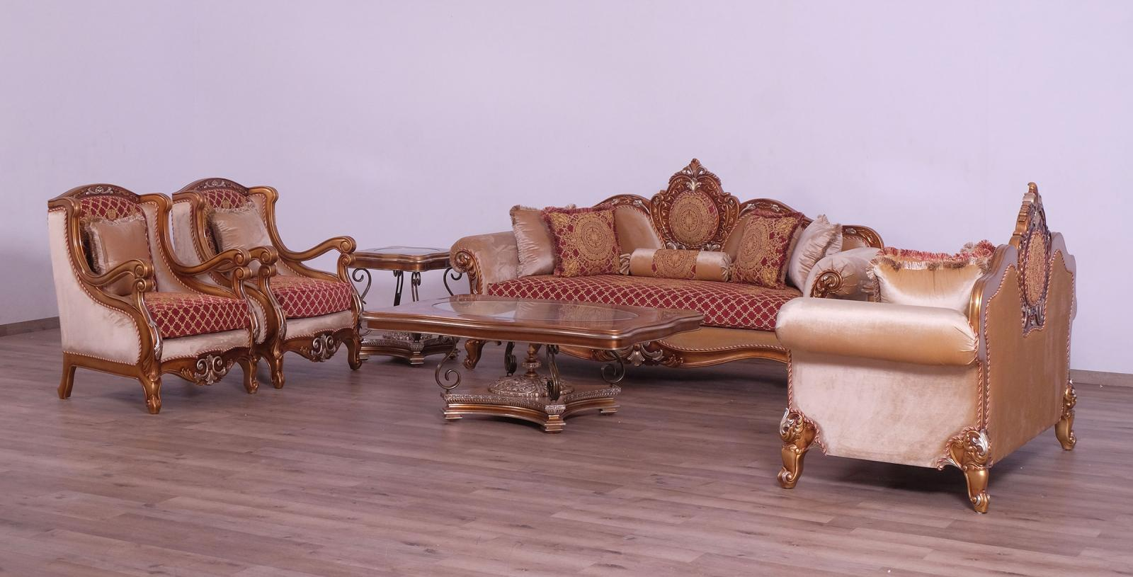 Classic  Traditional Gold  Red  Silver Wood  Solid Hardwood and Fabric Sofa Set EUROPEAN FURNITURE 41022-S-Set-4