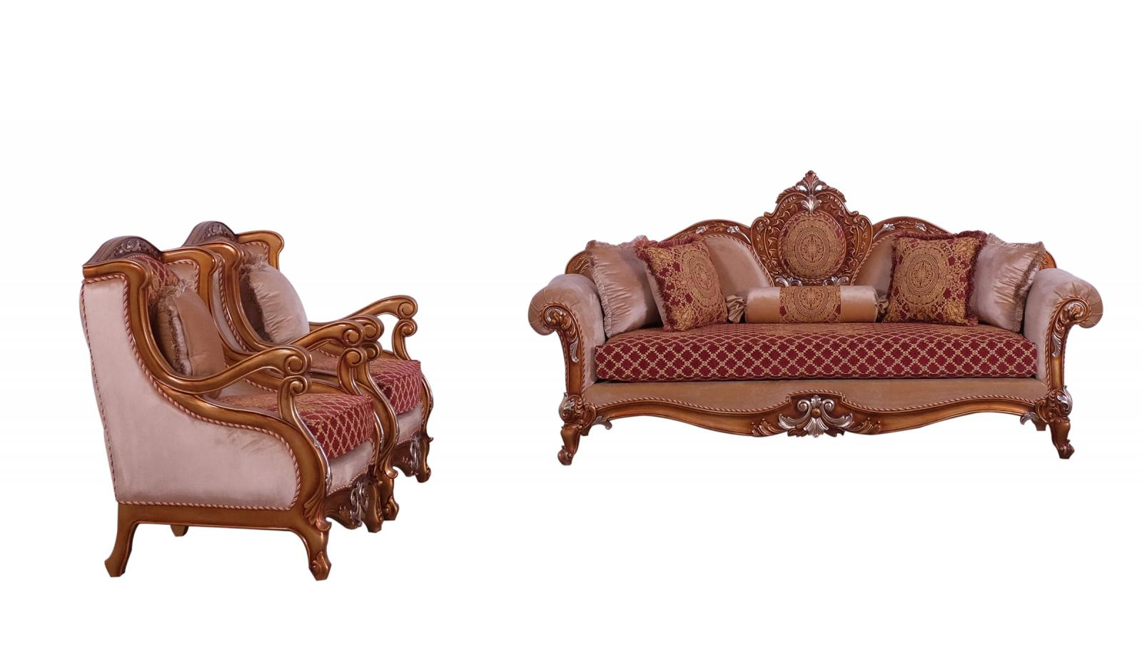 Classic  Traditional Gold  Red  Silver Wood  Solid Hardwood and Fabric Sofa Set EUROPEAN FURNITURE 41022-S-Set-3