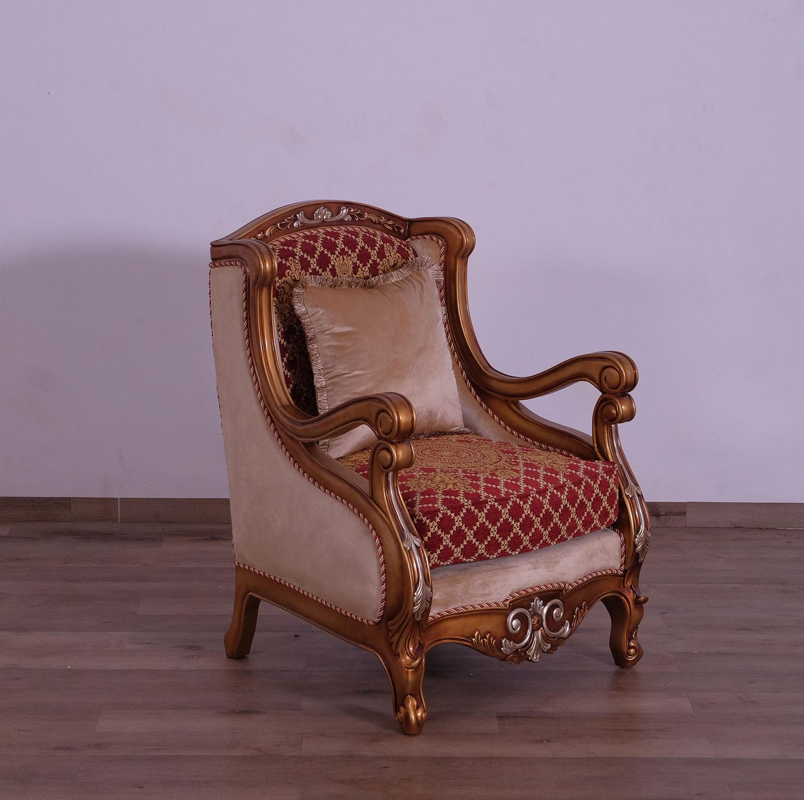 Classic  Traditional Gold  Red  Silver Wood  Solid Hardwood and Fabric Arm Chair EUROPEAN FURNITURE 41022-C