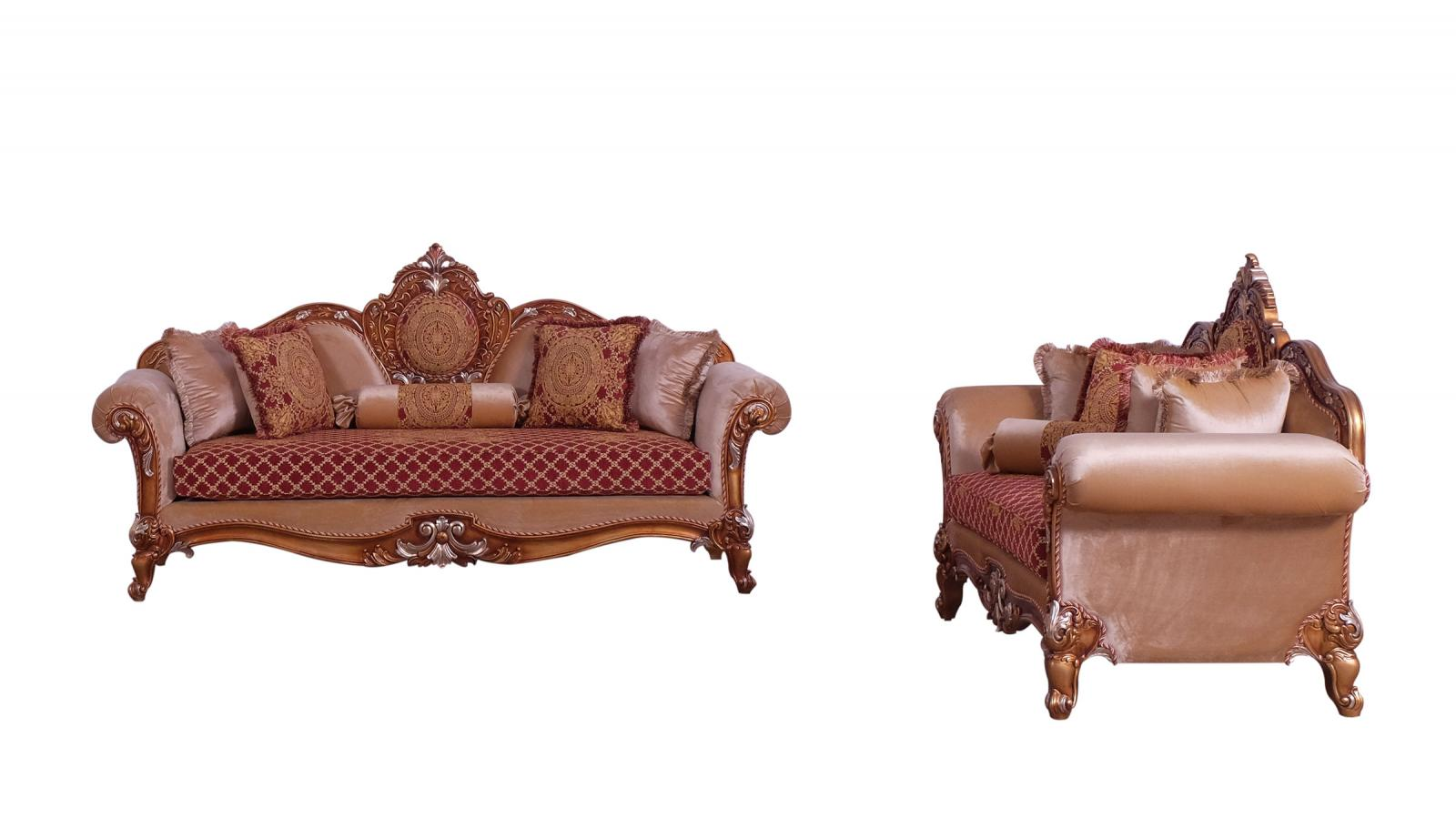 Classic  Traditional Gold  Red  Silver Wood  Solid Hardwood and Fabric Sofa Set EUROPEAN FURNITURE 41022-S-Set-2