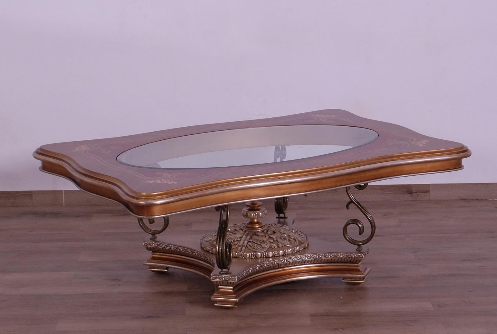 Classic  Traditional Gold  Silver Wood  Metal  Solid Hardwood and  Coffee Table EUROPEAN FURNITURE 41026-CT