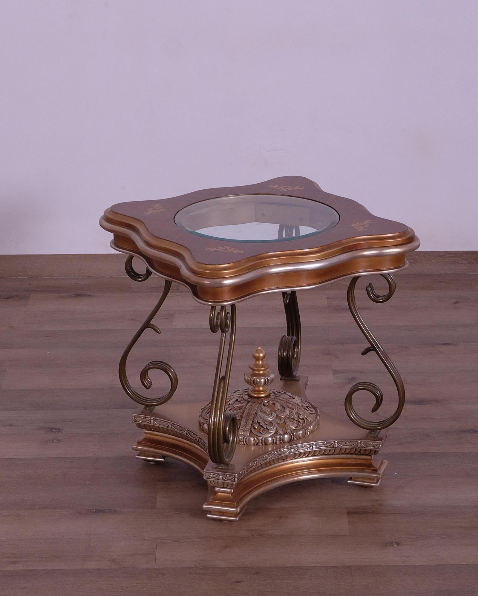 Classic  Traditional Gold  Silver Wood  Metal  Solid Hardwood and  End Table EUROPEAN FURNITURE 41026-ET