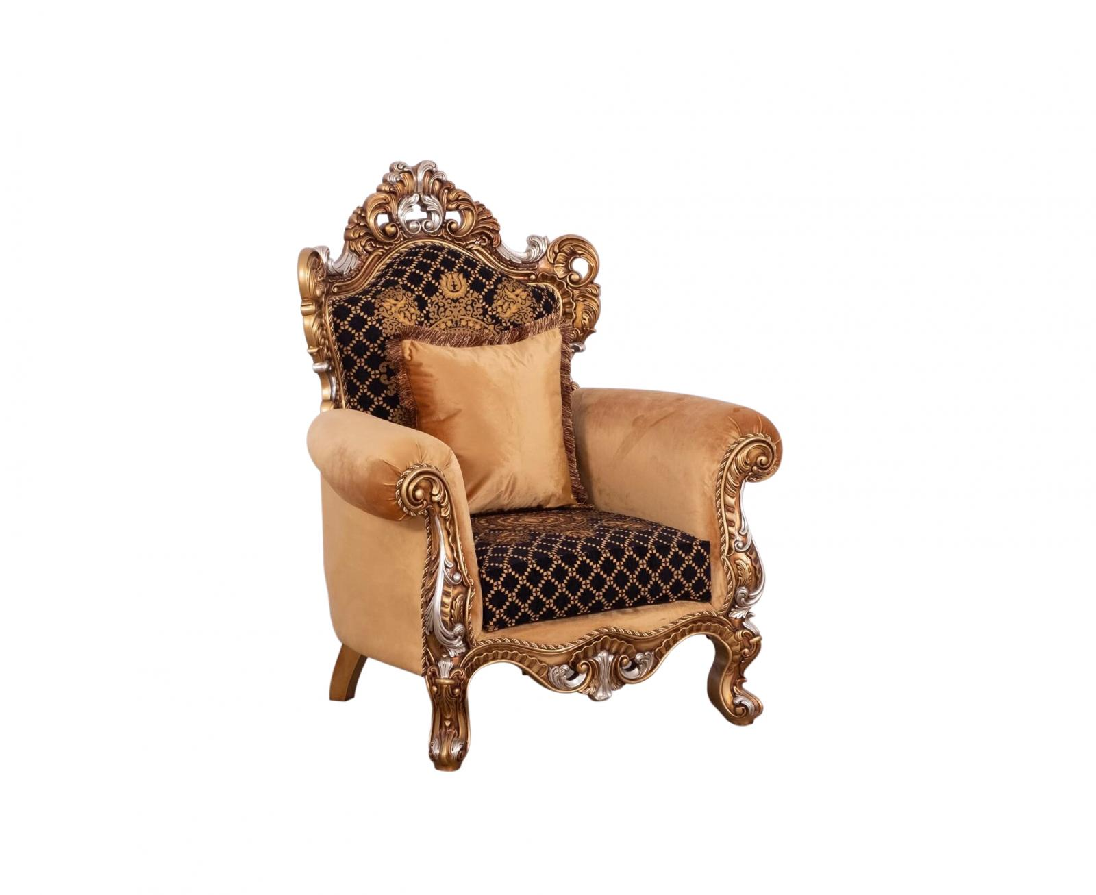 Classic  Traditional Gold   Black Wood  Solid Hardwood and Fabric Arm Chair EUROPEAN FURNITURE 42035-C