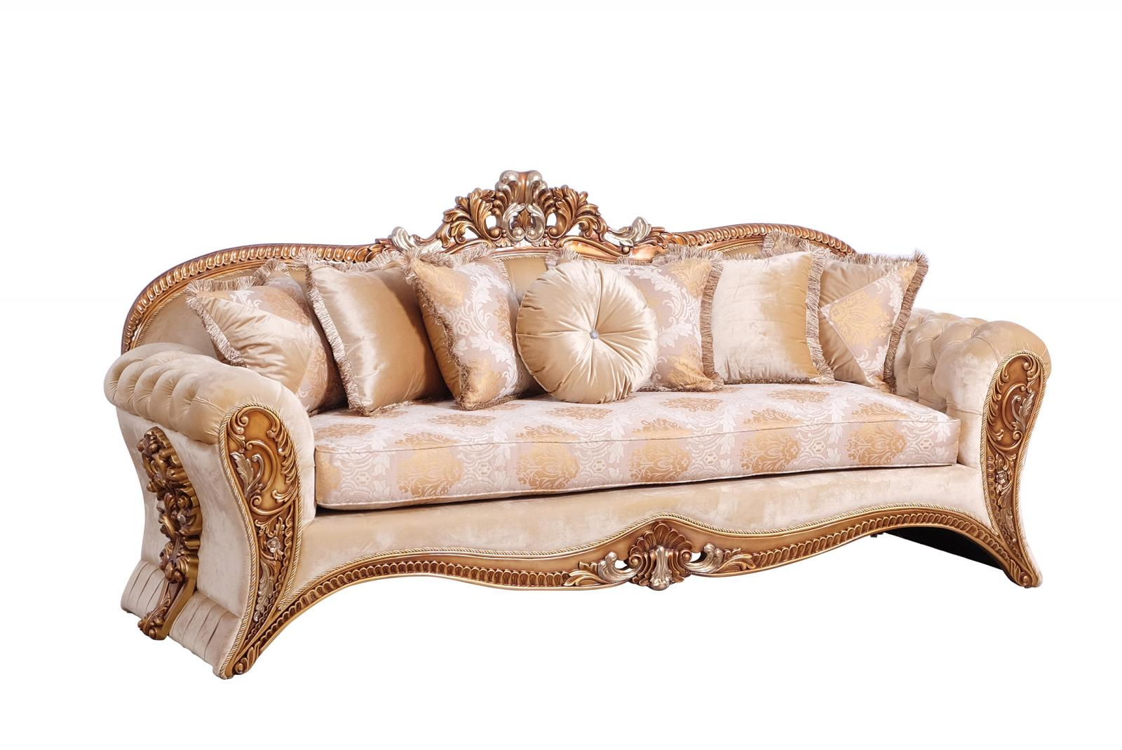 Classic  Traditional Gold Wood  Solid Hardwood and Fabric Sofa EUROPEAN FURNITURE 42038-S
