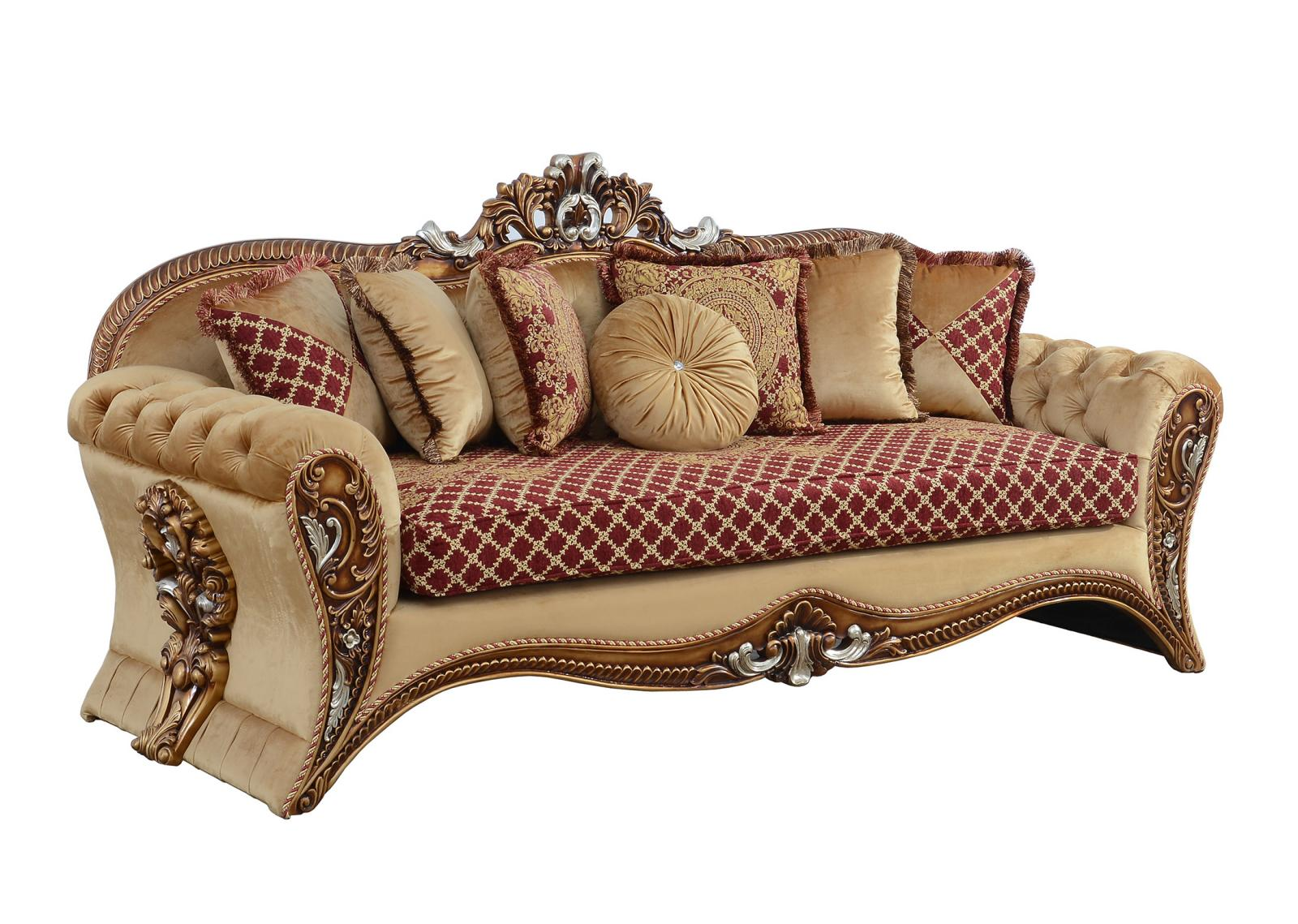 Classic  Traditional Gold   Red Wood  Solid Hardwood and Fabric Sofa EUROPEAN FURNITURE 42036-S