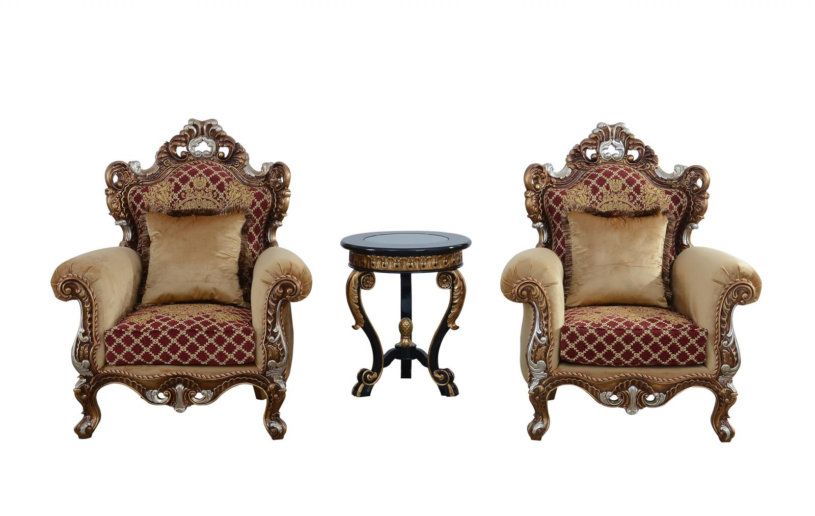 Classic  Traditional Gold   Red Wood  Solid Hardwood and Fabric Arm Chair Set EUROPEAN FURNITURE 42036-C-Set-2