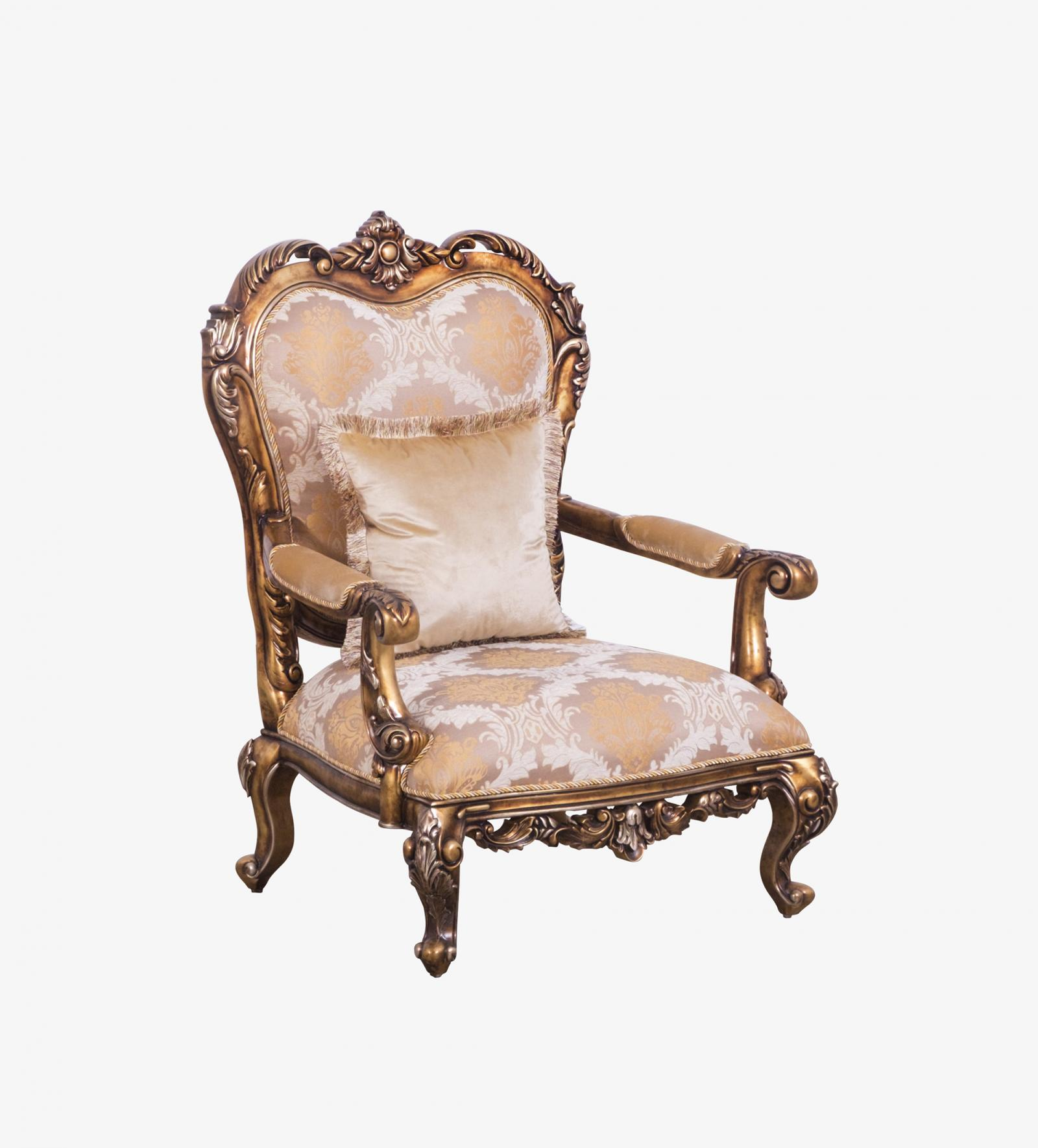 Classic  Traditional Bronze  Gold Wood  Solid Hardwood and Fabric Arm Chair EUROPEAN FURNITURE 44698-C