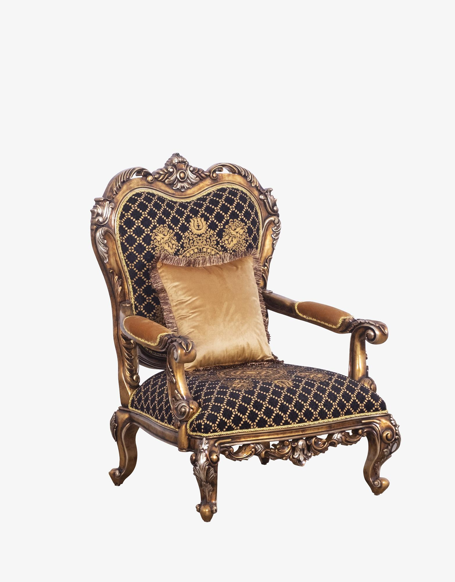Classic  Traditional Black  Bronze  Gold Wood  Solid Hardwood and Fabric Arm Chair EUROPEAN FURNITURE 44697-C