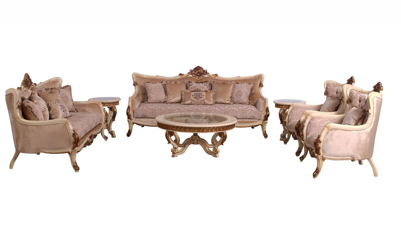 Classic  Traditional Gold  Antique   Beige Wood  Solid Hardwood and Fabric Sofa Set EUROPEAN FURNITURE 47075-S-Set-4