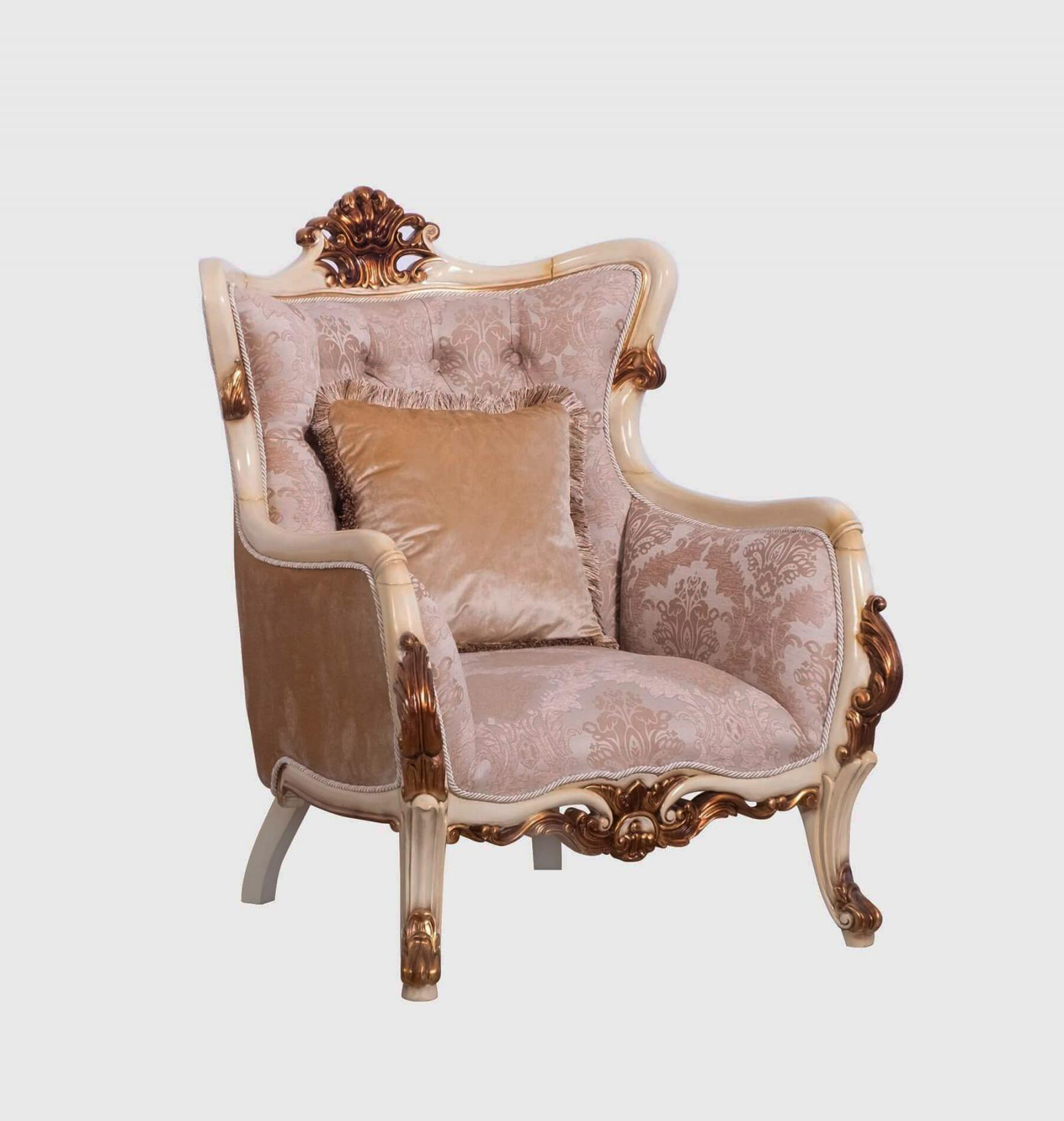 Classic  Traditional Gold  Antique   Beige Wood  Solid Hardwood and Fabric Arm Chair EUROPEAN FURNITURE 47075-C