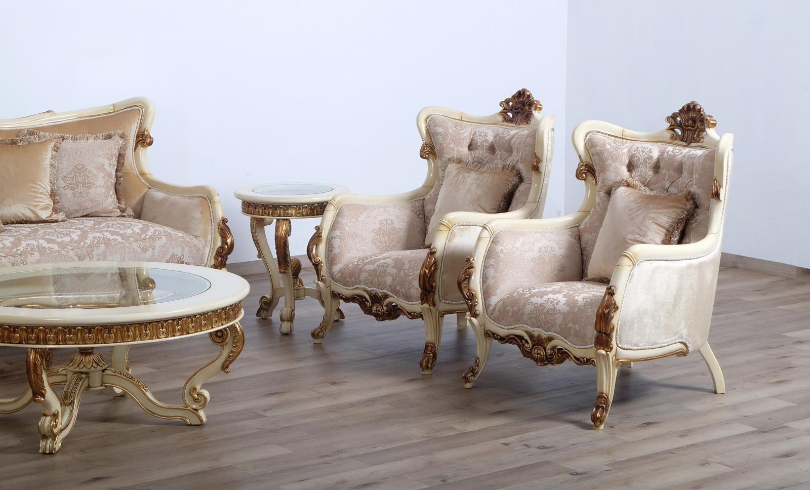 Classic  Traditional Gold  Antique   Beige Wood  Solid Hardwood and  Coffee Table Set EUROPEAN FURNITURE 47075-CT-Set-2
