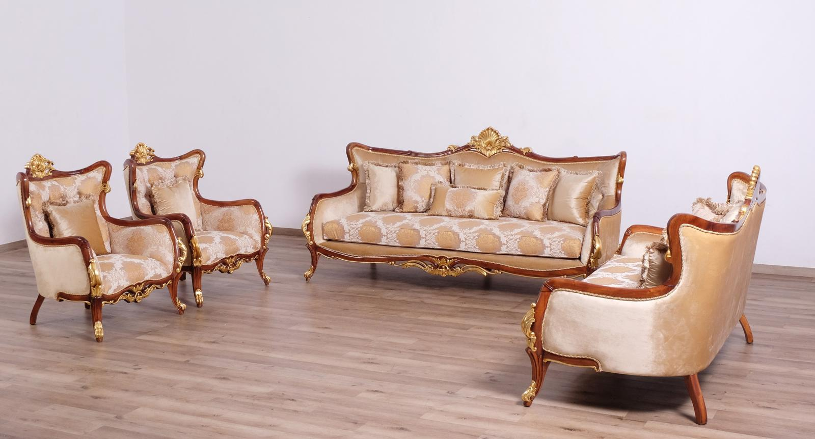 Classic  Traditional Gold  Walnut  Antique Wood  Solid Hardwood and Fabric Sofa Set EUROPEAN FURNITURE 47078-S-Set-4